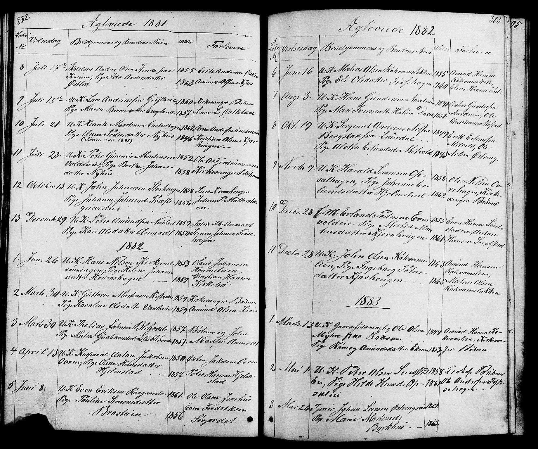 SAH, Østre Gausdal prestekontor, Klokkerbok nr. 1, 1863-1893, s. 382-383