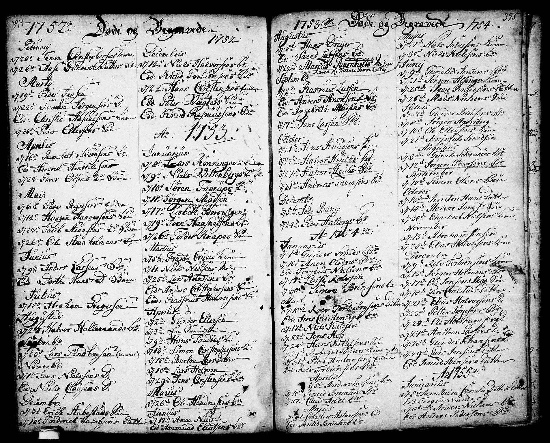 SAKO, Kragerø kirkebøker, F/Fa/L0001: Ministerialbok nr. 1, 1702-1766, s. 394-395