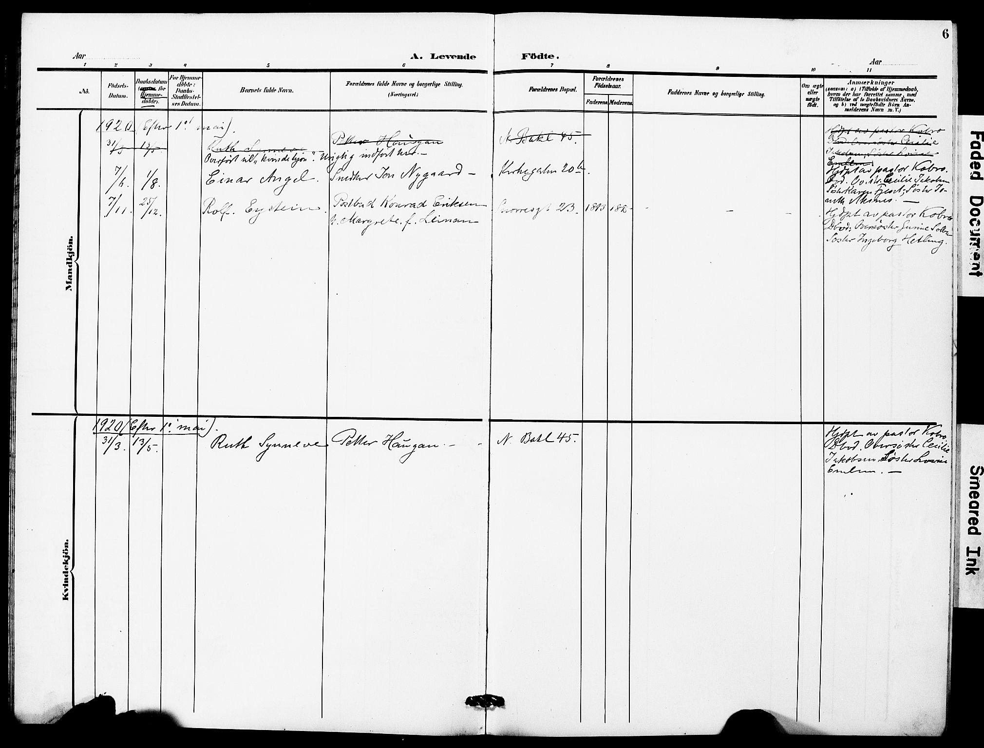 SAT, Ministerialprotokoller, klokkerbøker og fødselsregistre - Sør-Trøndelag, 628/L0483: Ministerialbok nr. 628A01, 1902-1920, s. 6