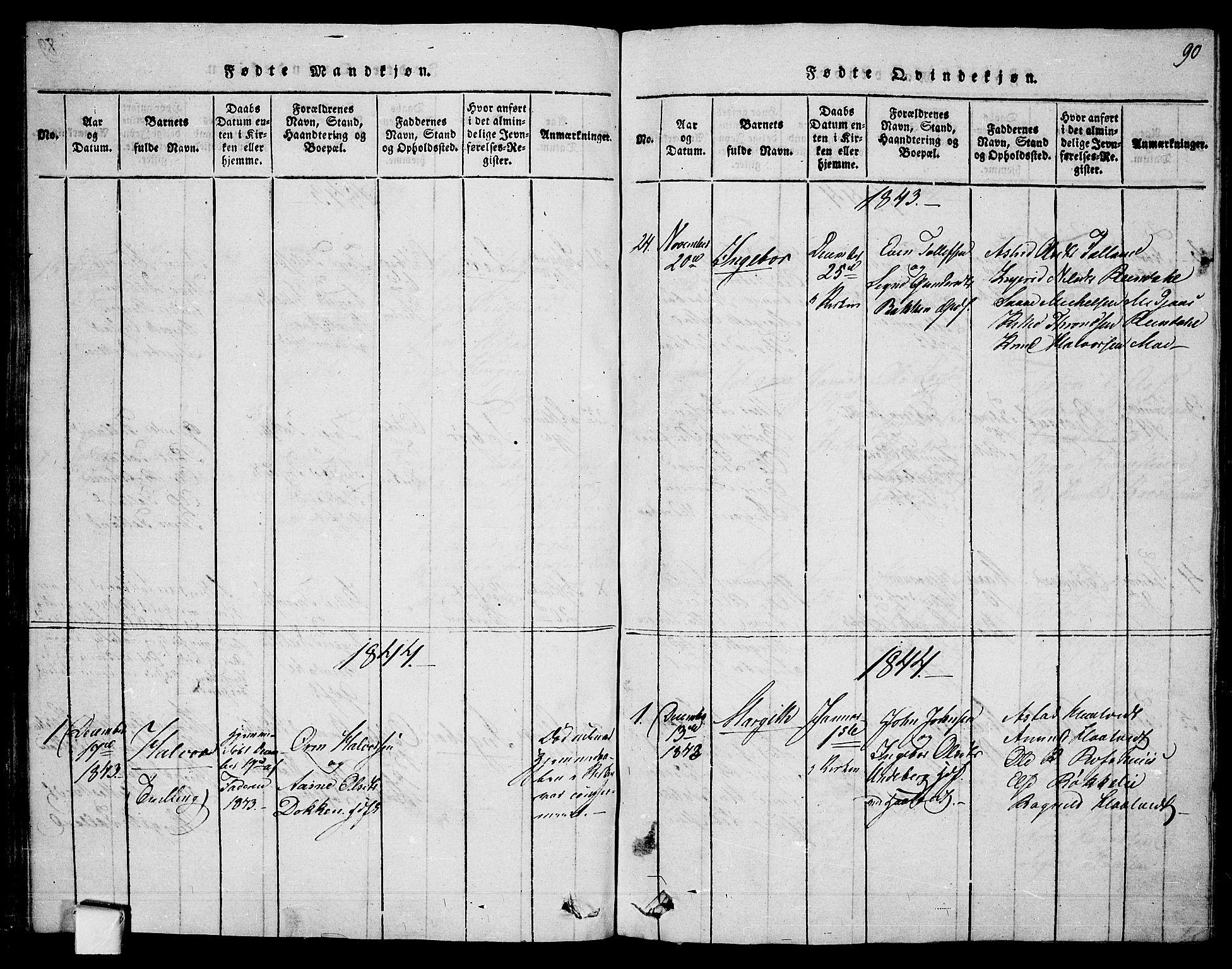 SAKO, Mo kirkebøker, F/Fa/L0004: Ministerialbok nr. I 4, 1814-1844, s. 90