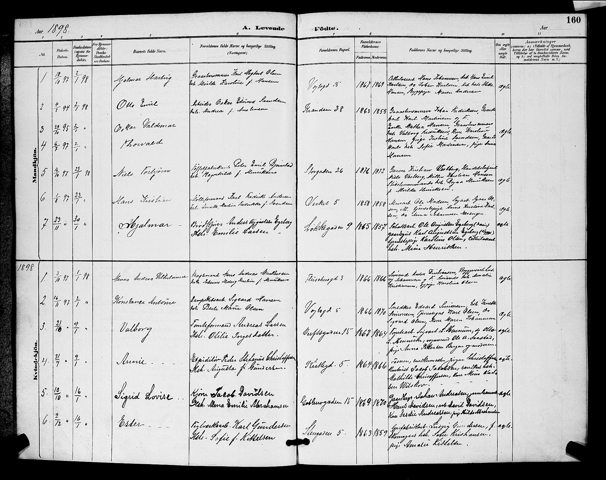 SAO, Moss prestekontor Kirkebøker, G/Ga/L0006: Klokkerbok nr. I 6, 1889-1900, s. 160