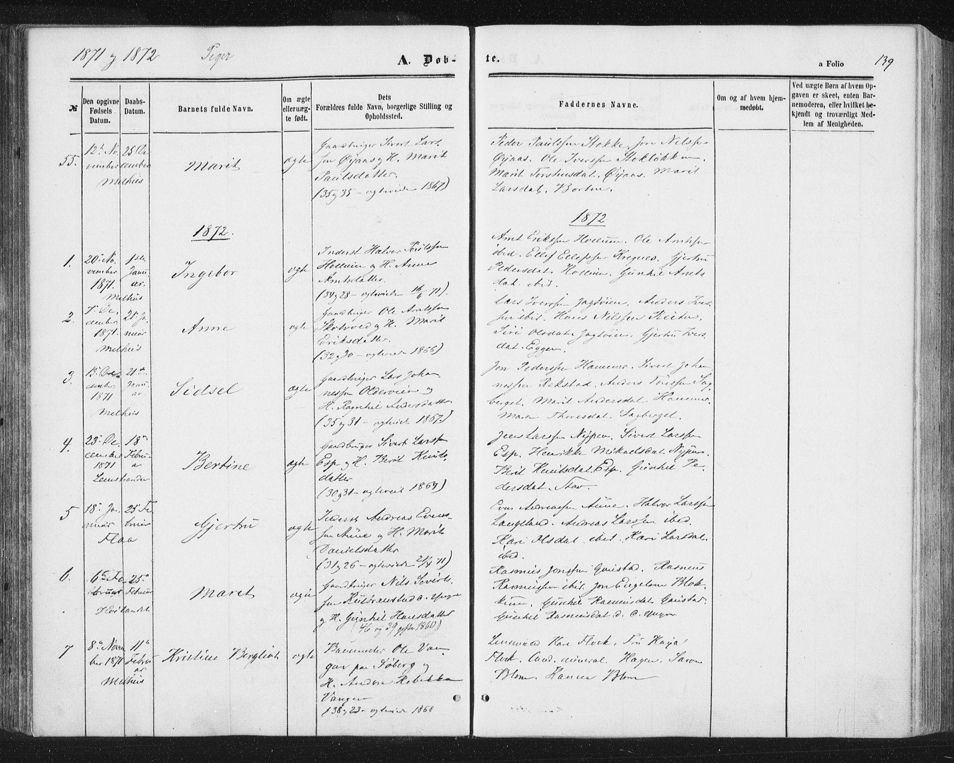 SAT, Ministerialprotokoller, klokkerbøker og fødselsregistre - Sør-Trøndelag, 691/L1077: Ministerialbok nr. 691A09, 1862-1873, s. 139