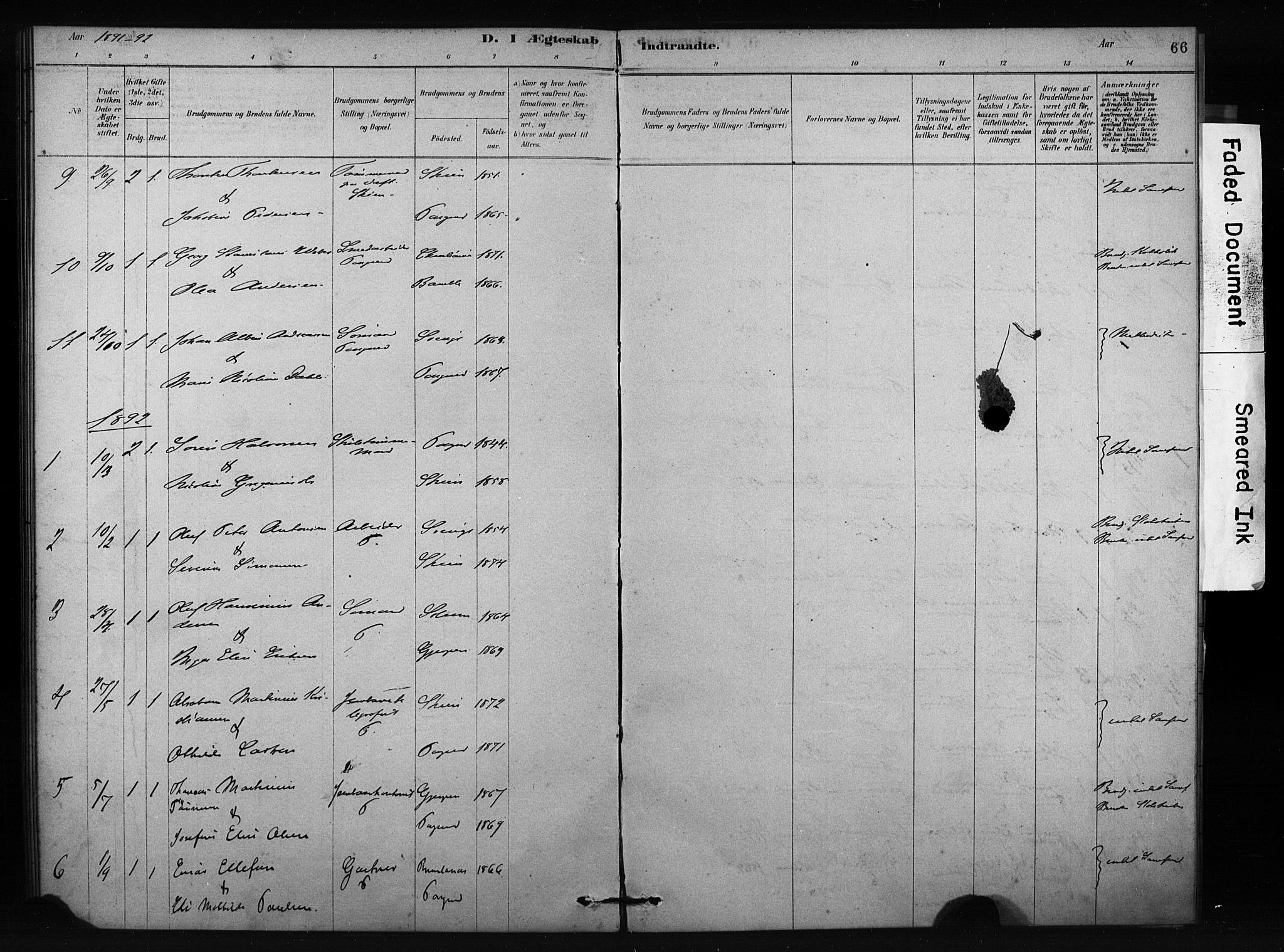 SAKO, Porsgrunn kirkebøker , F/Fa/L0009: Ministerialbok nr. 9, 1878-1923, s. 66