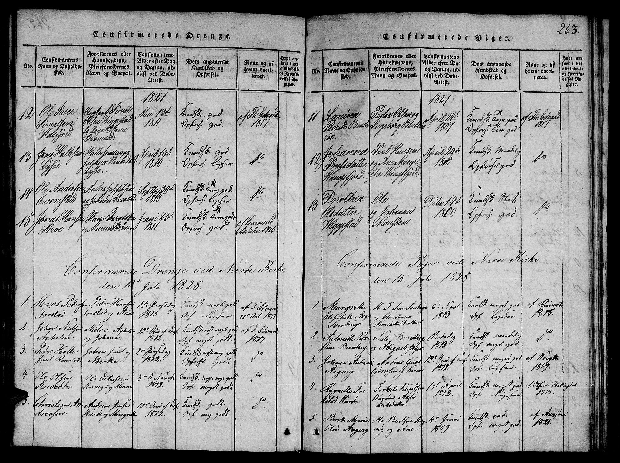 SAT, Ministerialprotokoller, klokkerbøker og fødselsregistre - Nord-Trøndelag, 784/L0667: Ministerialbok nr. 784A03 /1, 1816-1829, s. 263