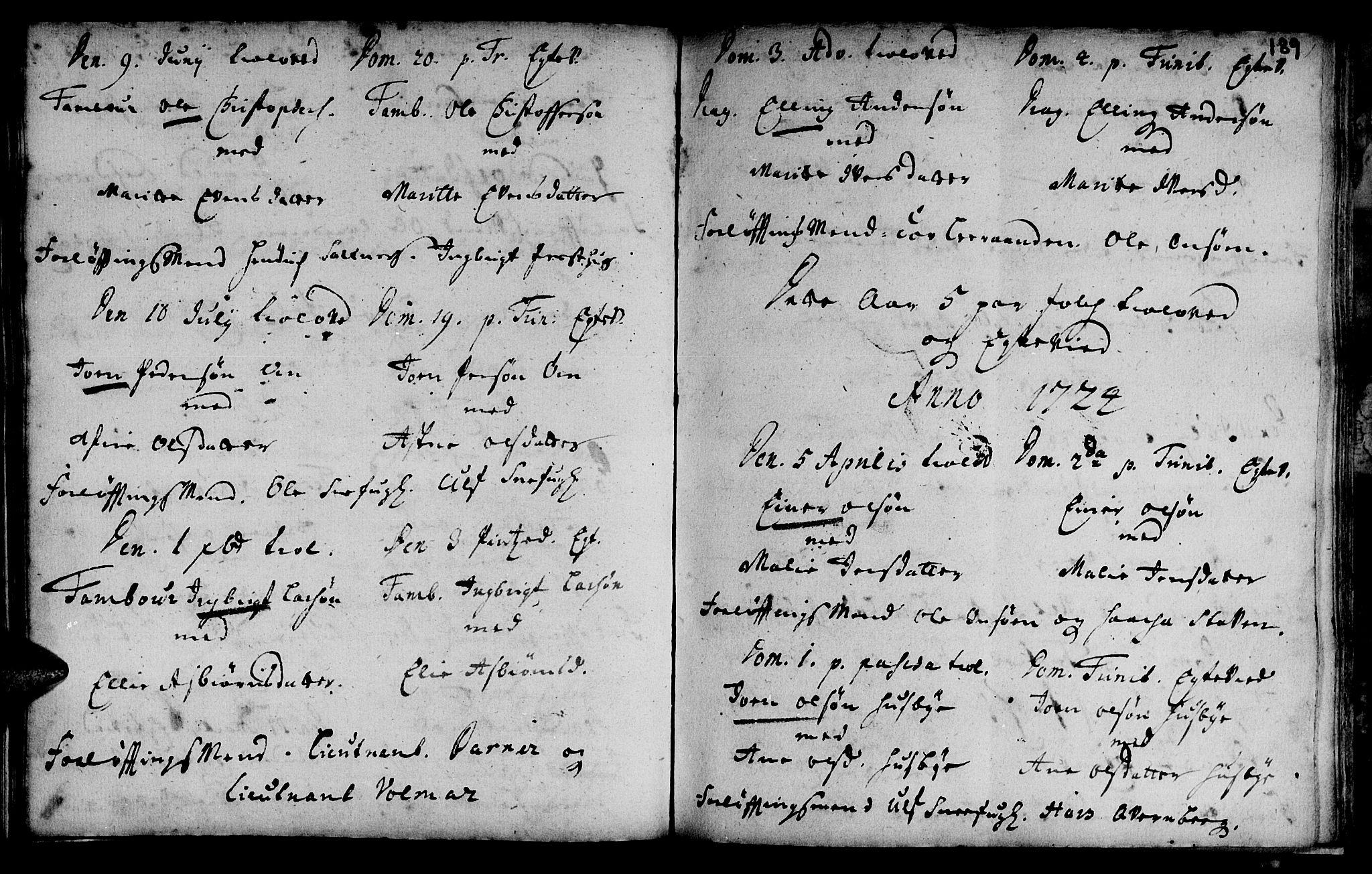SAT, Ministerialprotokoller, klokkerbøker og fødselsregistre - Sør-Trøndelag, 666/L0783: Ministerialbok nr. 666A01, 1702-1753, s. 189