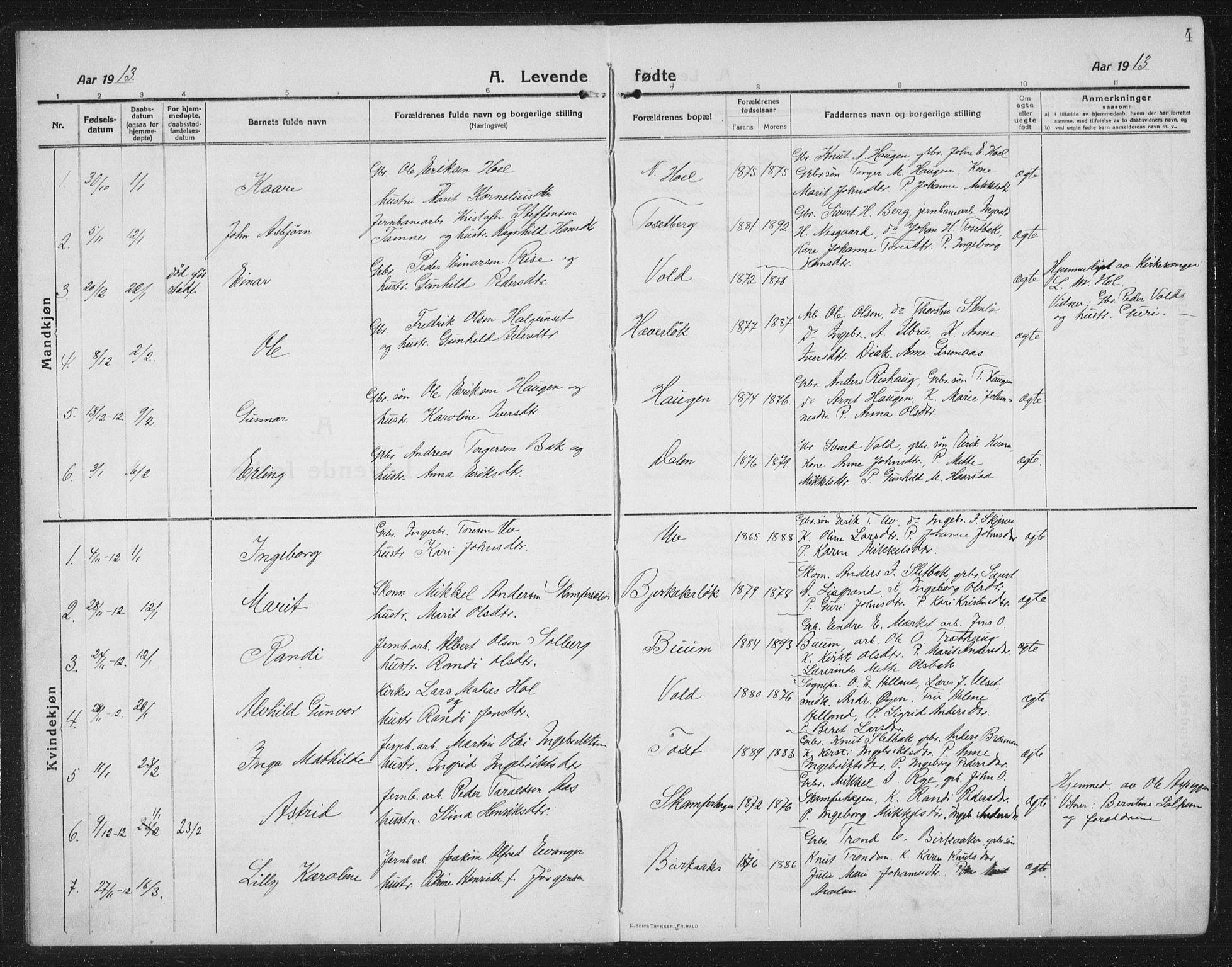 SAT, Ministerialprotokoller, klokkerbøker og fødselsregistre - Sør-Trøndelag, 674/L0877: Klokkerbok nr. 674C04, 1913-1940, s. 4