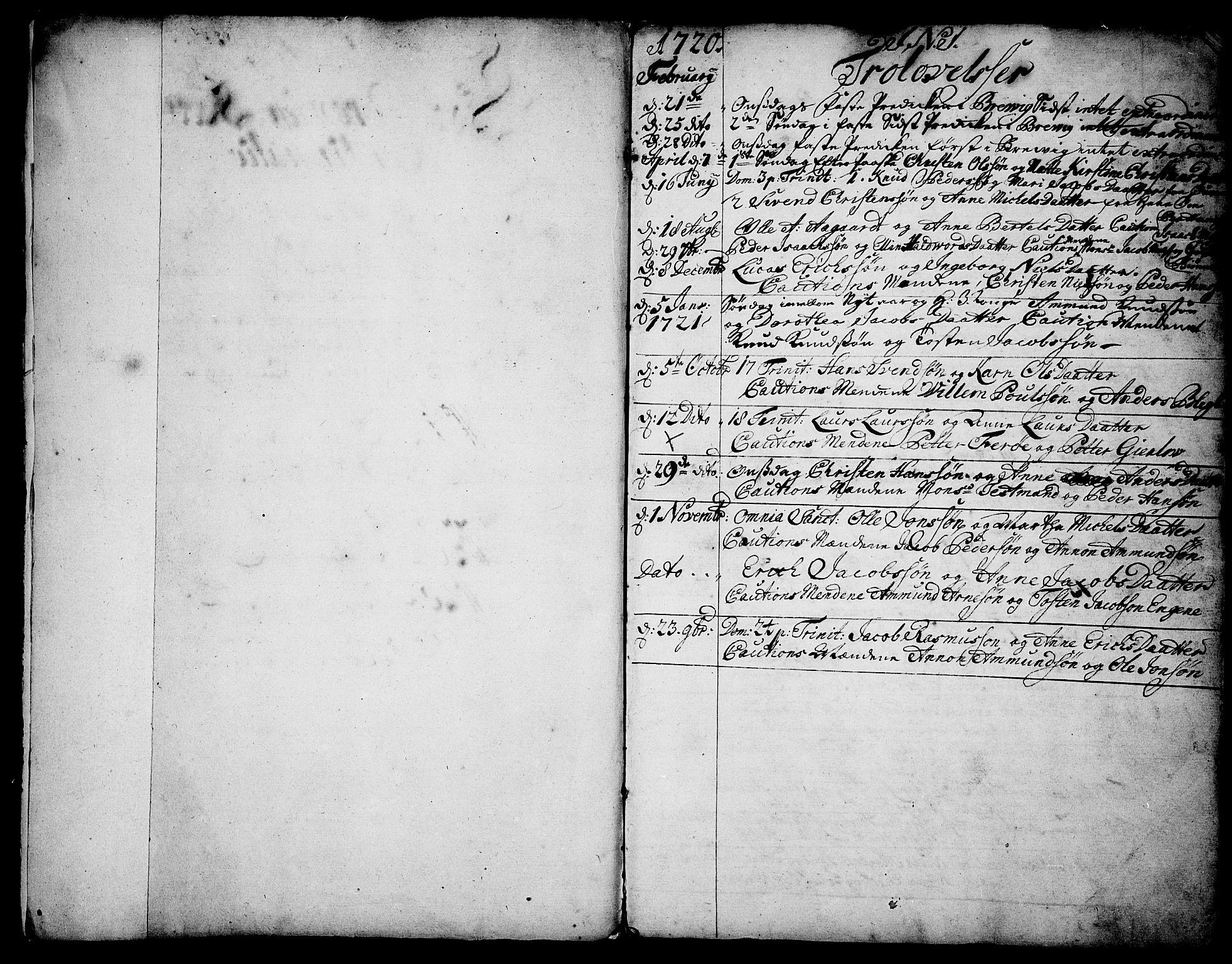 SAKO, Brevik kirkebøker, F/Fa/L0002: Ministerialbok nr. 2, 1720-1764, s. 1
