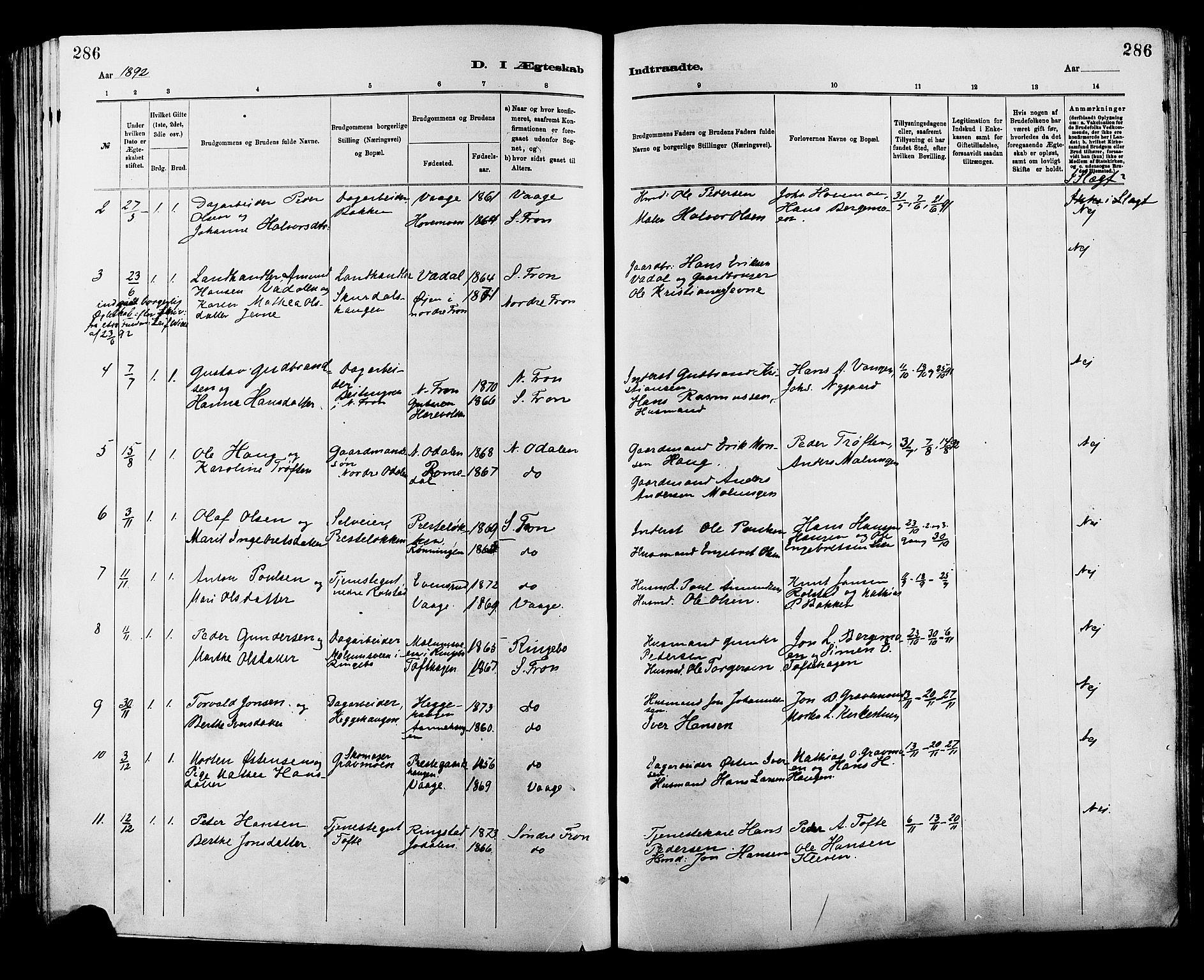 SAH, Sør-Fron prestekontor, H/Ha/Haa/L0003: Ministerialbok nr. 3, 1881-1897, s. 286