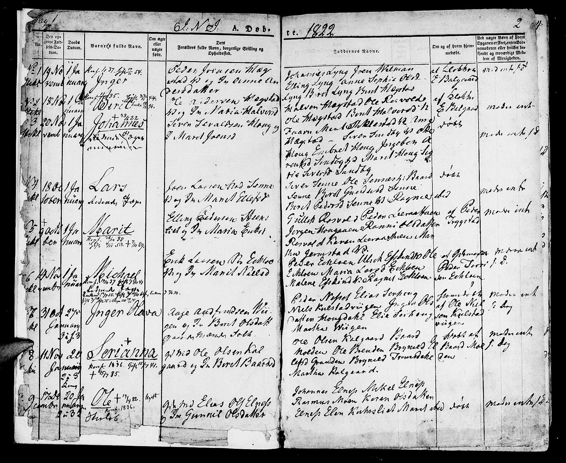 SAT, Ministerialprotokoller, klokkerbøker og fødselsregistre - Nord-Trøndelag, 723/L0237: Ministerialbok nr. 723A06, 1822-1830, s. 1-2