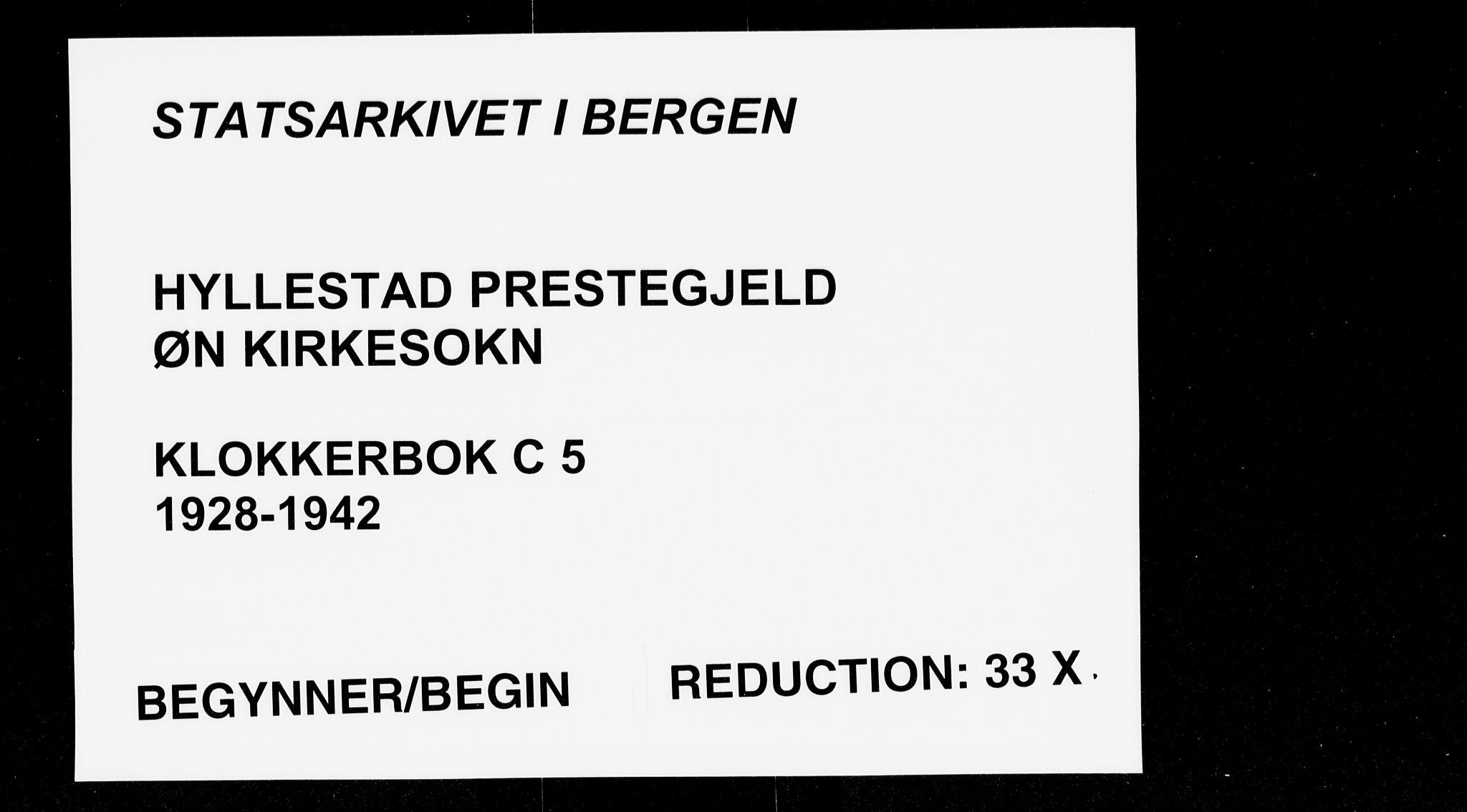 SAB, Hyllestad Sokneprestembete, Klokkerbok nr. C 5, 1928-1942