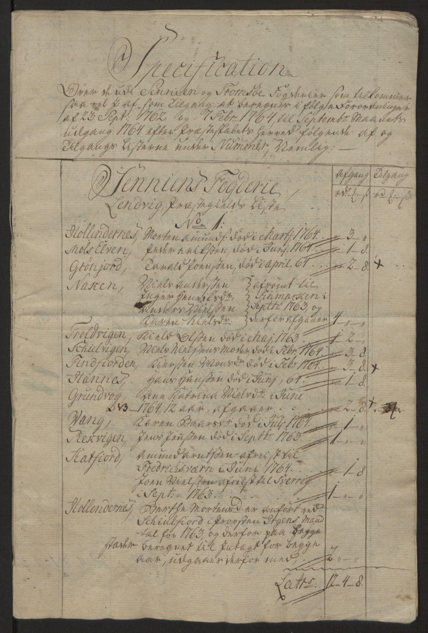 RA, Rentekammeret inntil 1814, Reviderte regnskaper, Fogderegnskap, R68/L4845: Ekstraskatten Senja og Troms, 1762-1765, s. 433