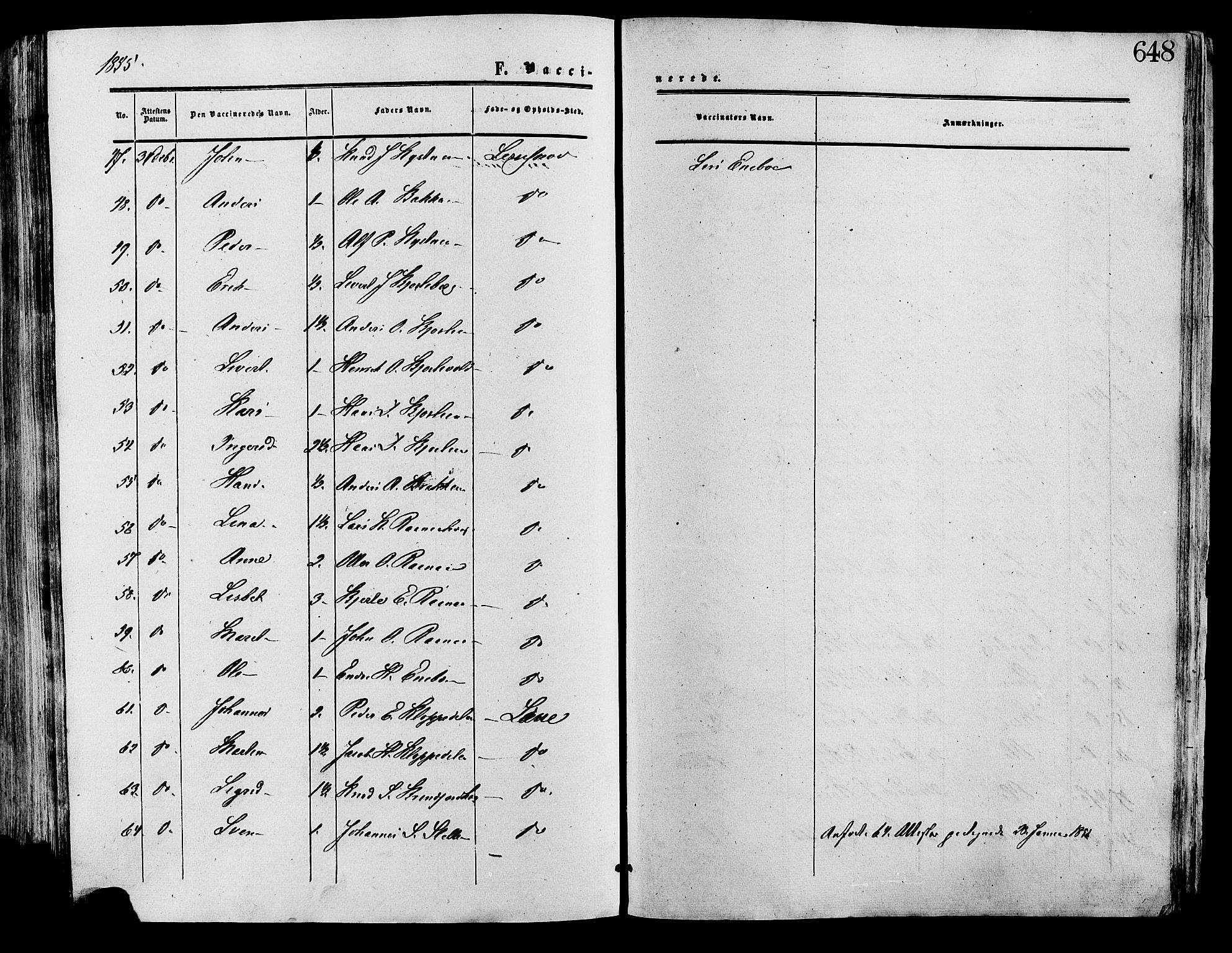 SAH, Lesja prestekontor, Ministerialbok nr. 8, 1854-1880, s. 648