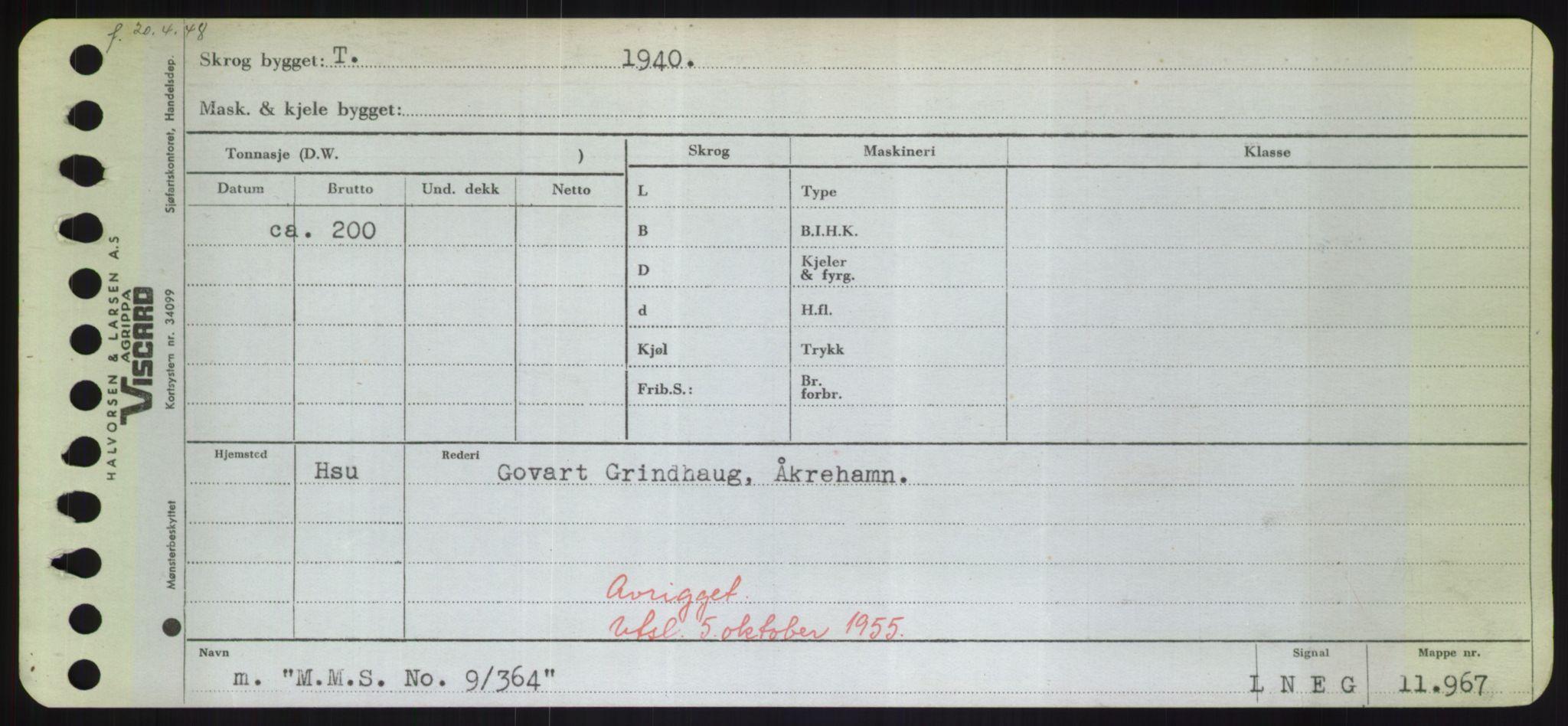 RA, Sjøfartsdirektoratet med forløpere, Skipsmålingen, H/Hd/L0024: Fartøy, M-Mim, s. 1