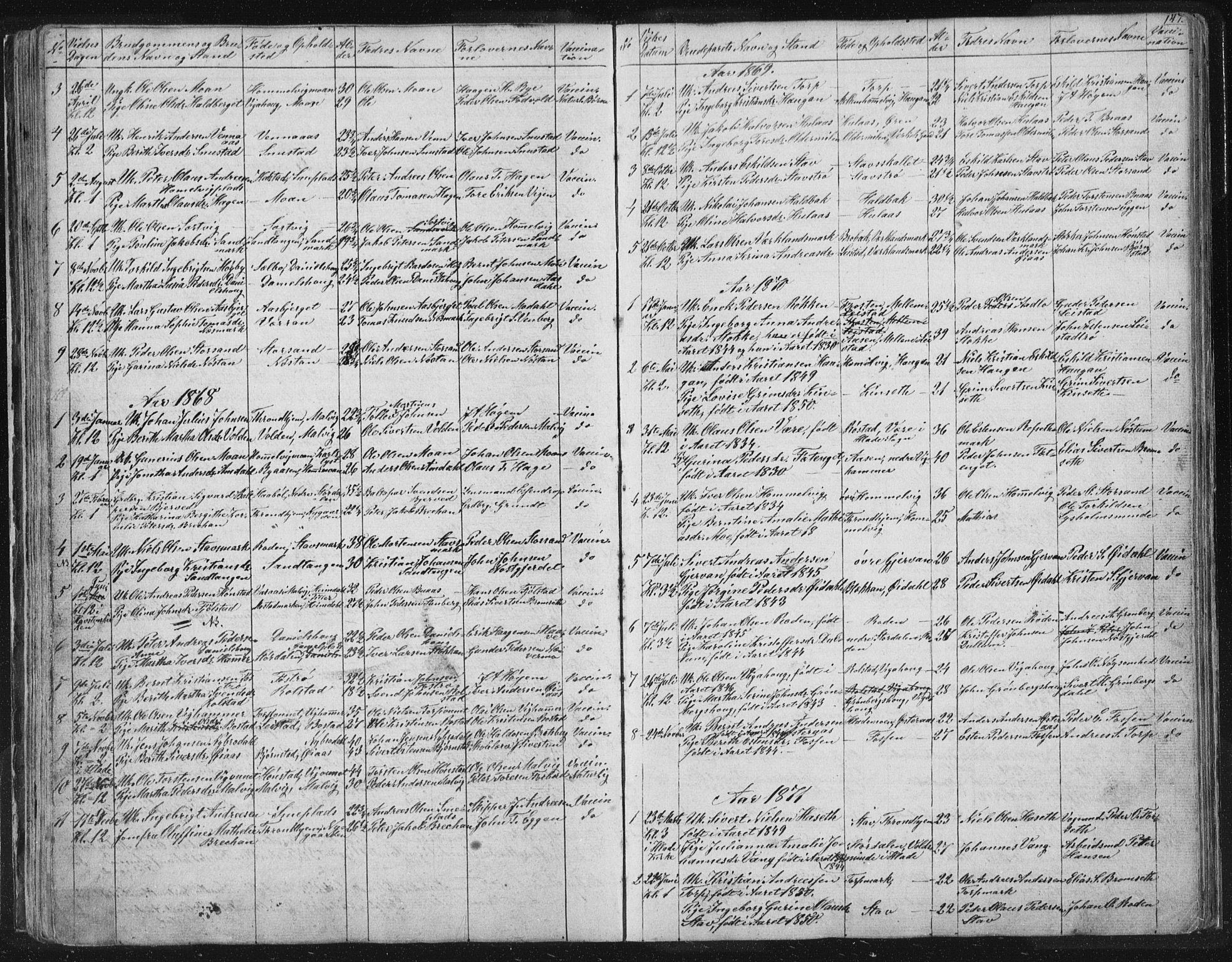 SAT, Ministerialprotokoller, klokkerbøker og fødselsregistre - Sør-Trøndelag, 616/L0406: Ministerialbok nr. 616A03, 1843-1879, s. 147