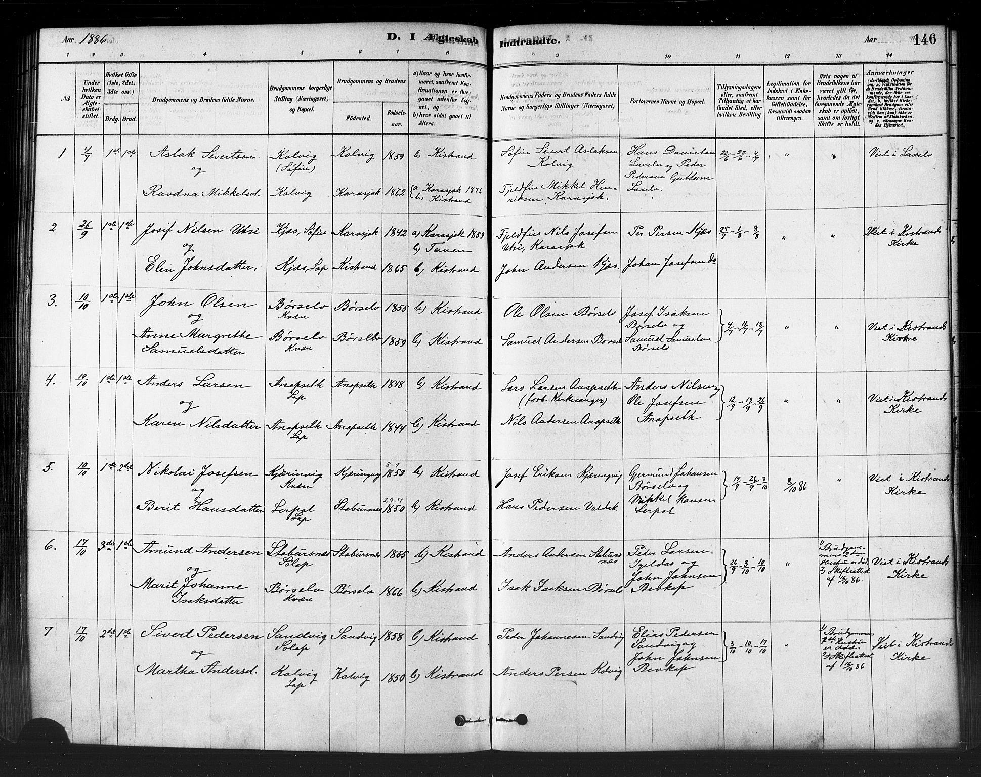 SATØ, Kistrand/Porsanger sokneprestembete, H/Ha/L0007.kirke: Ministerialbok nr. 7, 1881-1889, s. 146