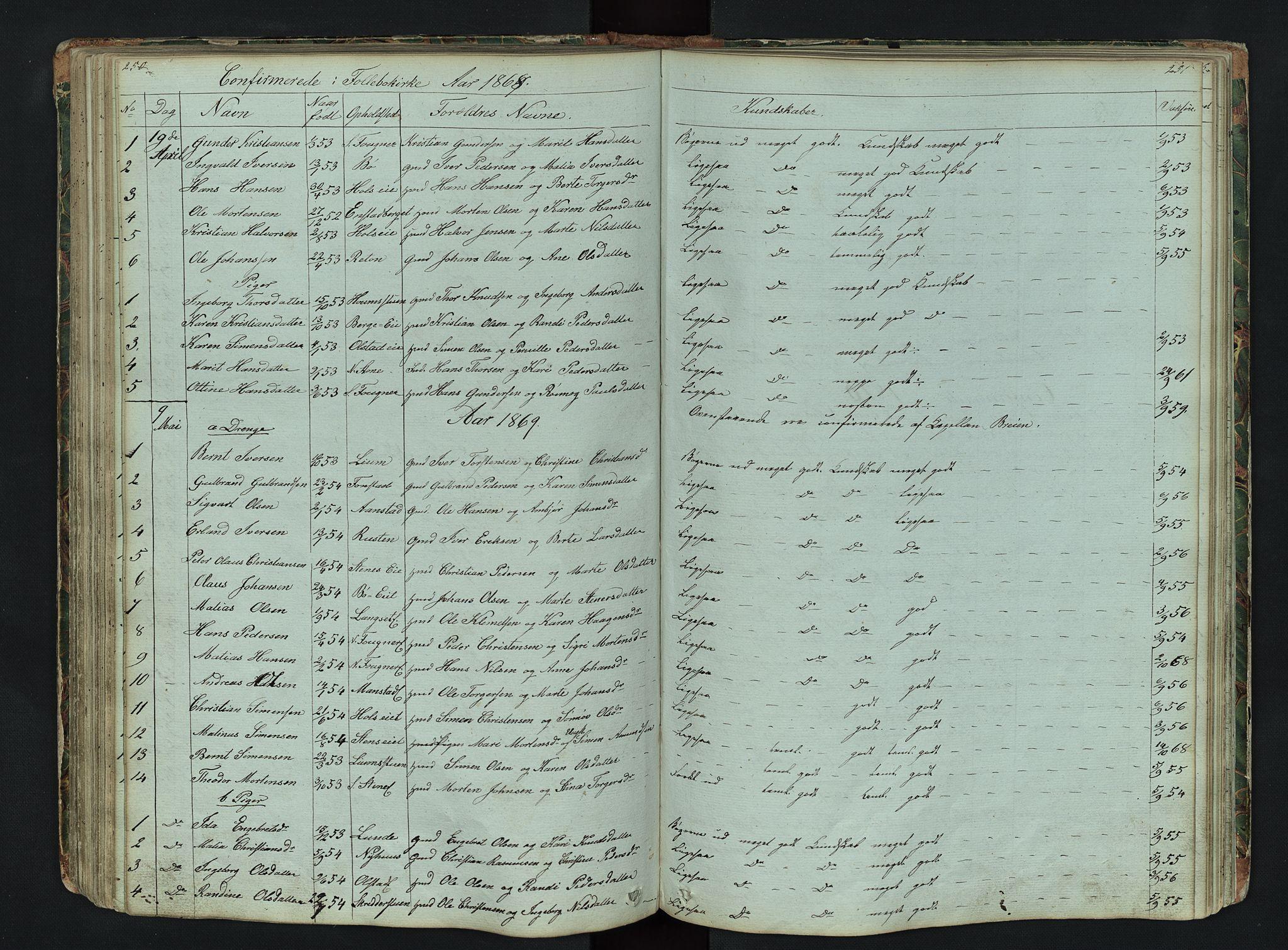 SAH, Gausdal prestekontor, Klokkerbok nr. 6, 1846-1893, s. 250-251