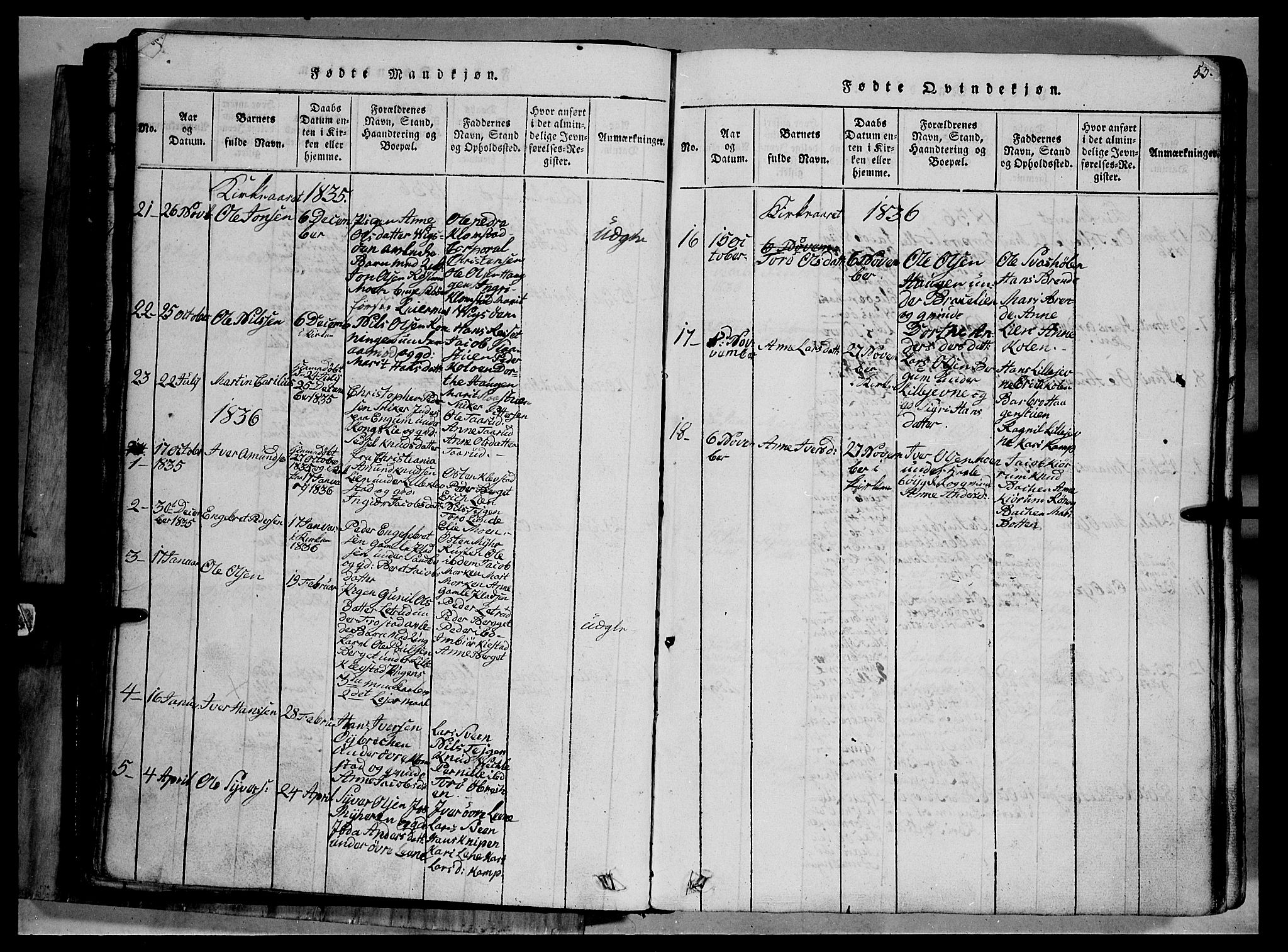 SAH, Fron prestekontor, H/Ha/Hab/L0002: Klokkerbok nr. 2, 1816-1850, s. 53