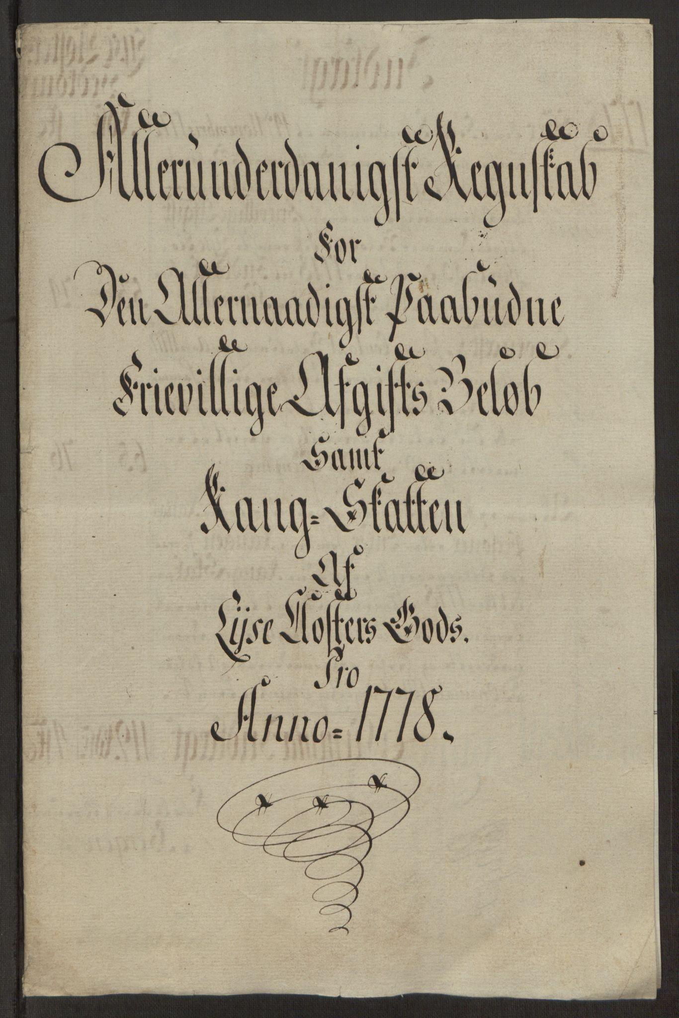RA, Rentekammeret inntil 1814, Reviderte regnskaper, Fogderegnskap, R50/L3180: Ekstraskatten Lyse kloster, 1762-1783, s. 404