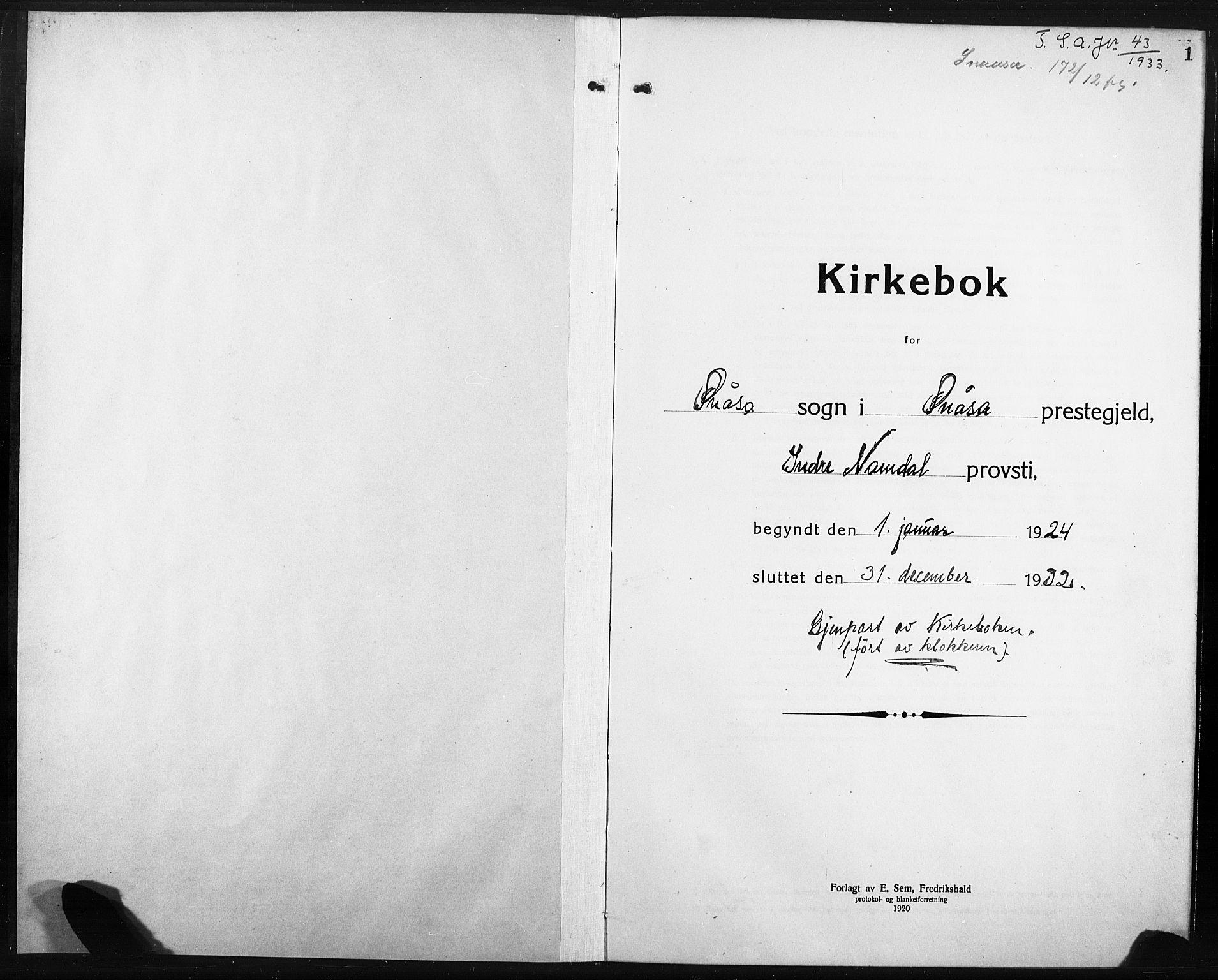 SAT, Ministerialprotokoller, klokkerbøker og fødselsregistre - Nord-Trøndelag, 749/L0480: Klokkerbok nr. 749C02, 1924-1932, s. 1