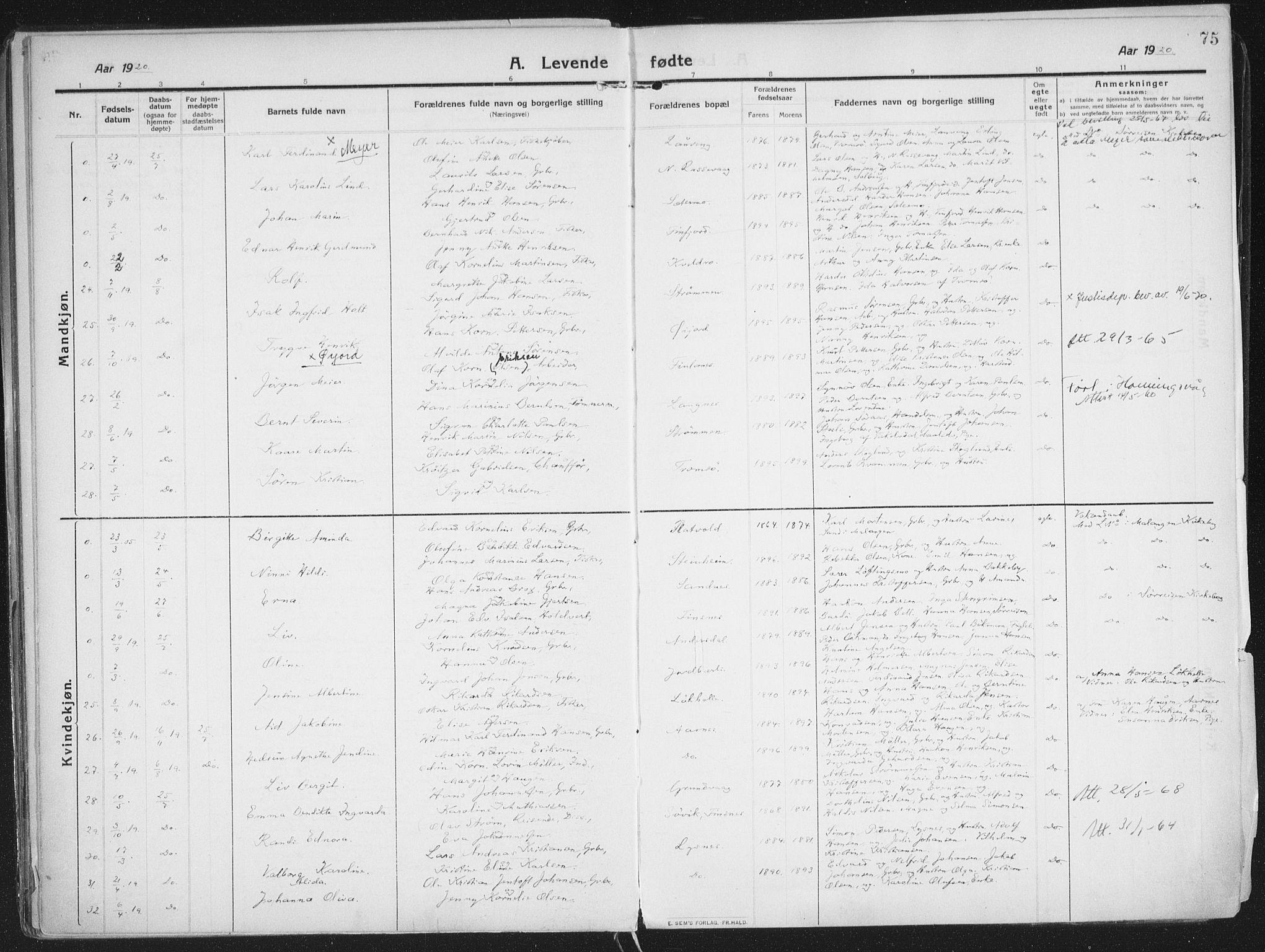 SATØ, Lenvik sokneprestembete, H/Ha: Ministerialbok nr. 16, 1910-1924, s. 75