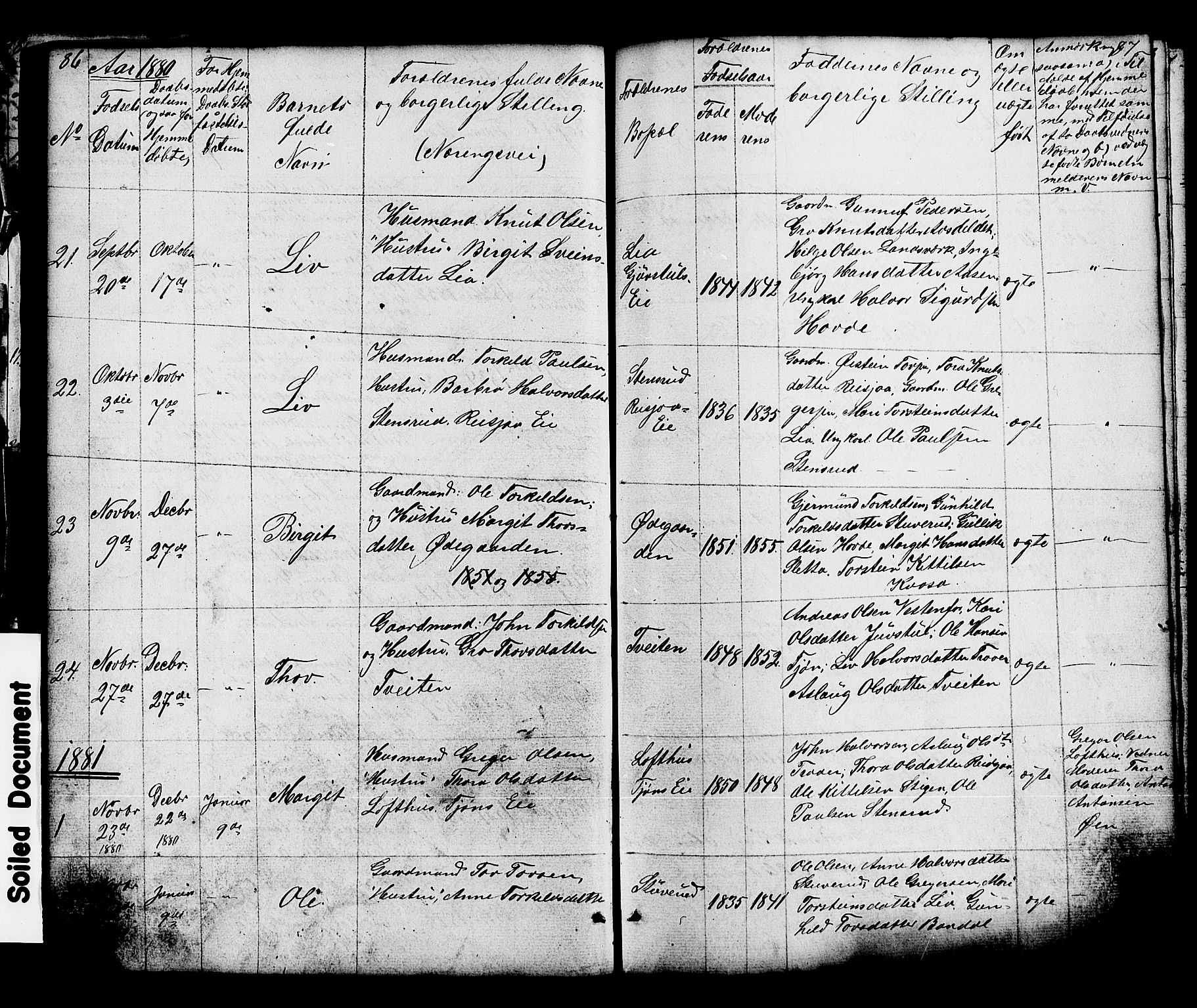 SAKO, Hjartdal kirkebøker, G/Gc/L0002: Klokkerbok nr. III 2, 1854-1890, s. 86-87