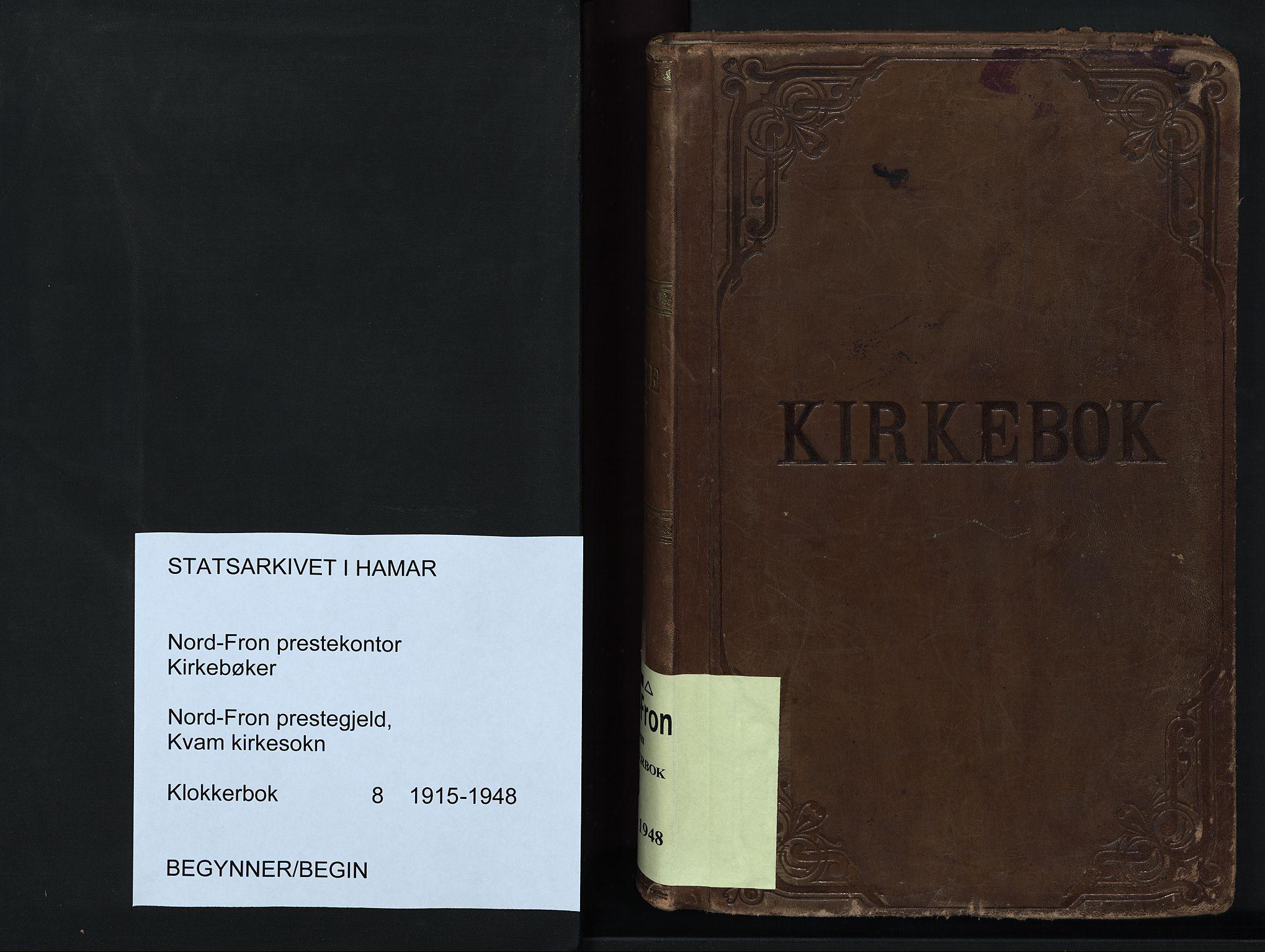 SAH, Nord-Fron prestekontor, Klokkerbok nr. 8, 1915-1948
