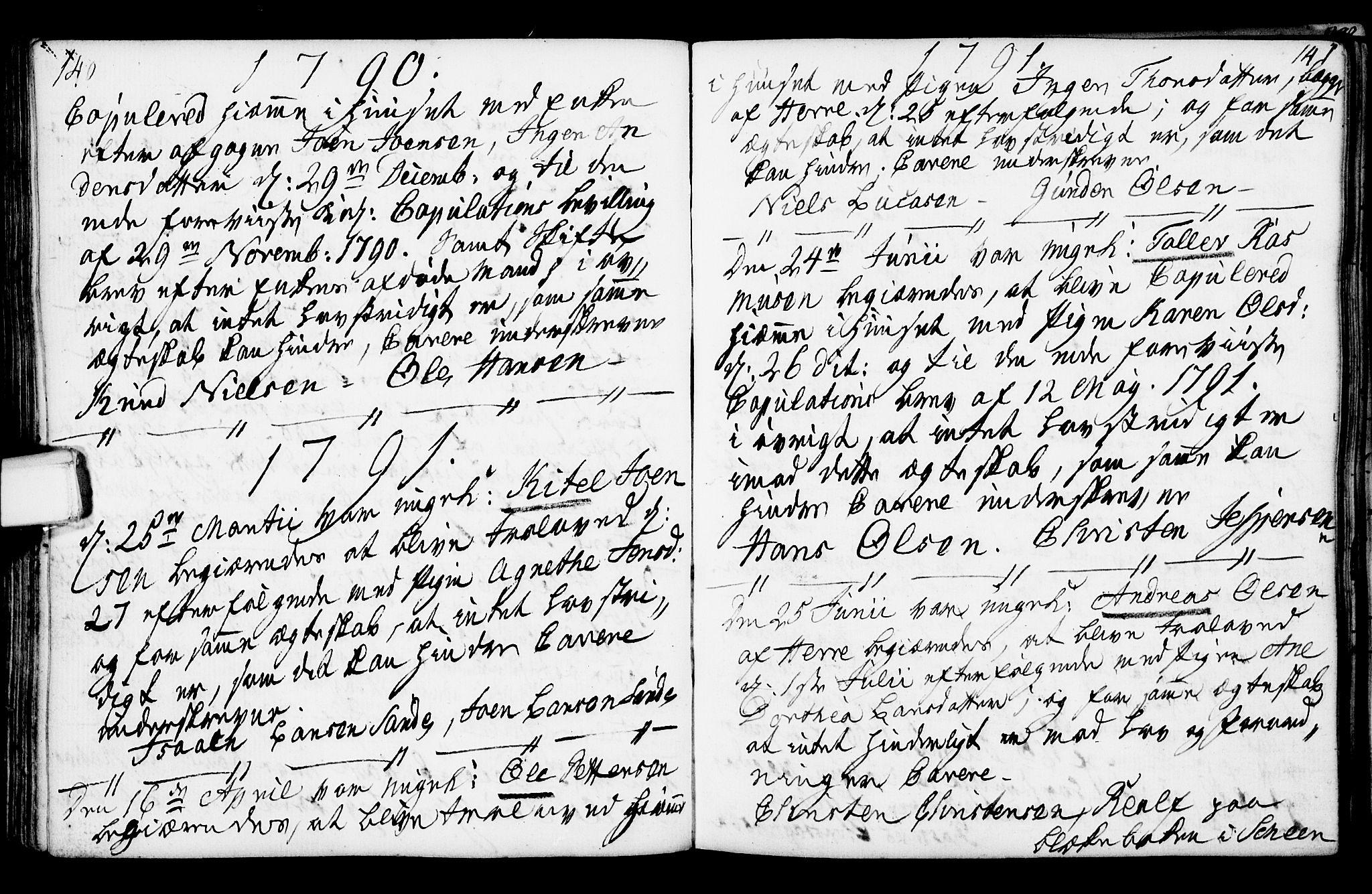 SAKO, Porsgrunn kirkebøker , F/Fa/L0003: Ministerialbok nr. 3, 1764-1814, s. 140-141