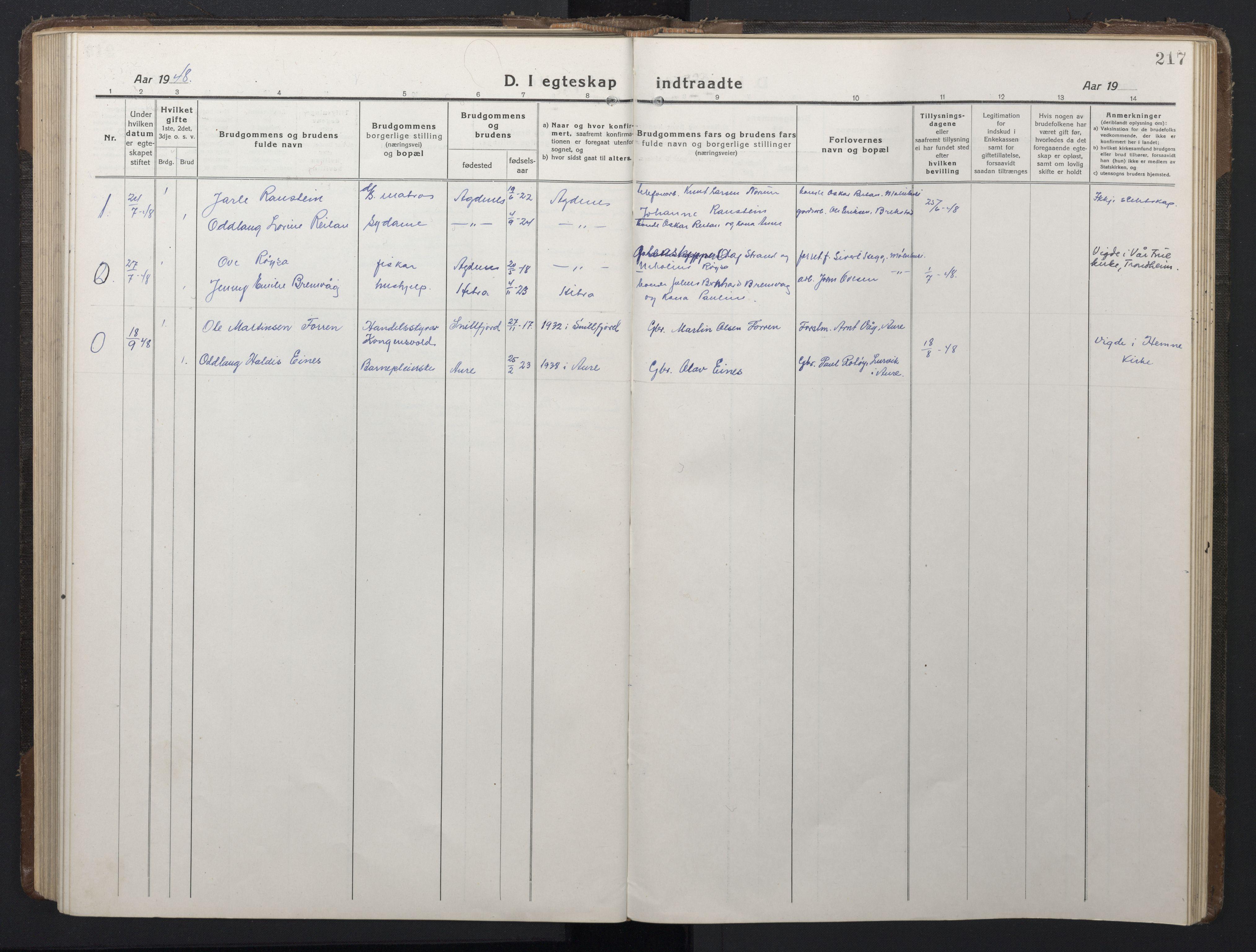 SAT, Ministerialprotokoller, klokkerbøker og fødselsregistre - Sør-Trøndelag, 662/L0758: Klokkerbok nr. 662C03, 1918-1948, s. 217