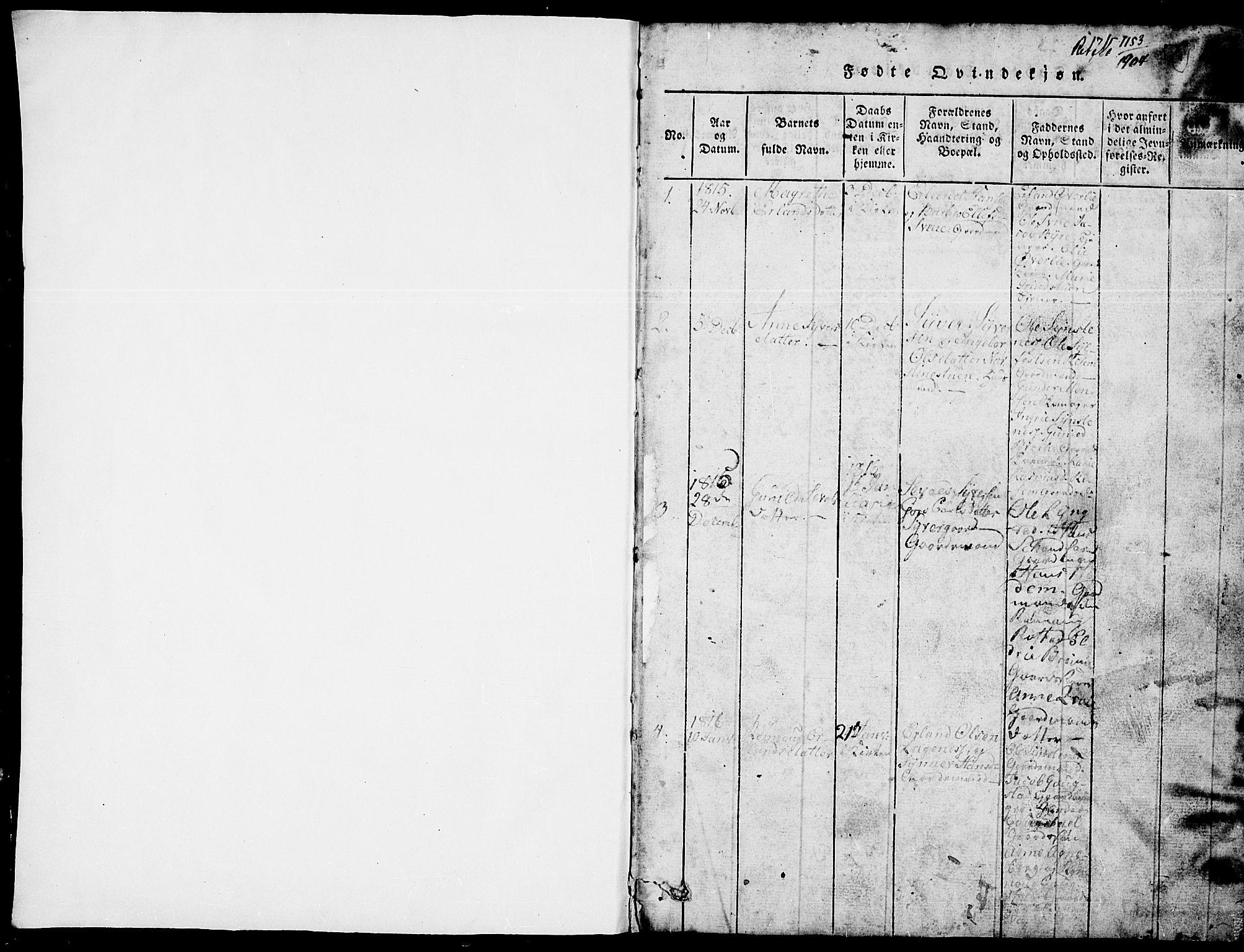SAH, Lom prestekontor, L/L0001: Klokkerbok nr. 1, 1815-1836, s. 1