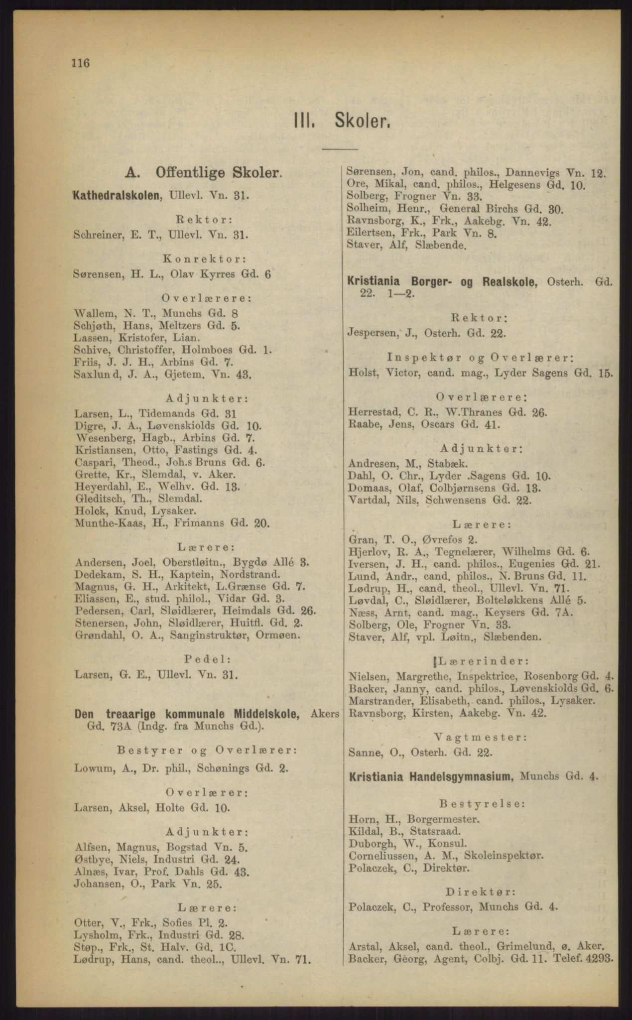 RA, Kristiania adressebok (publikasjon)*, 1903, s. 116