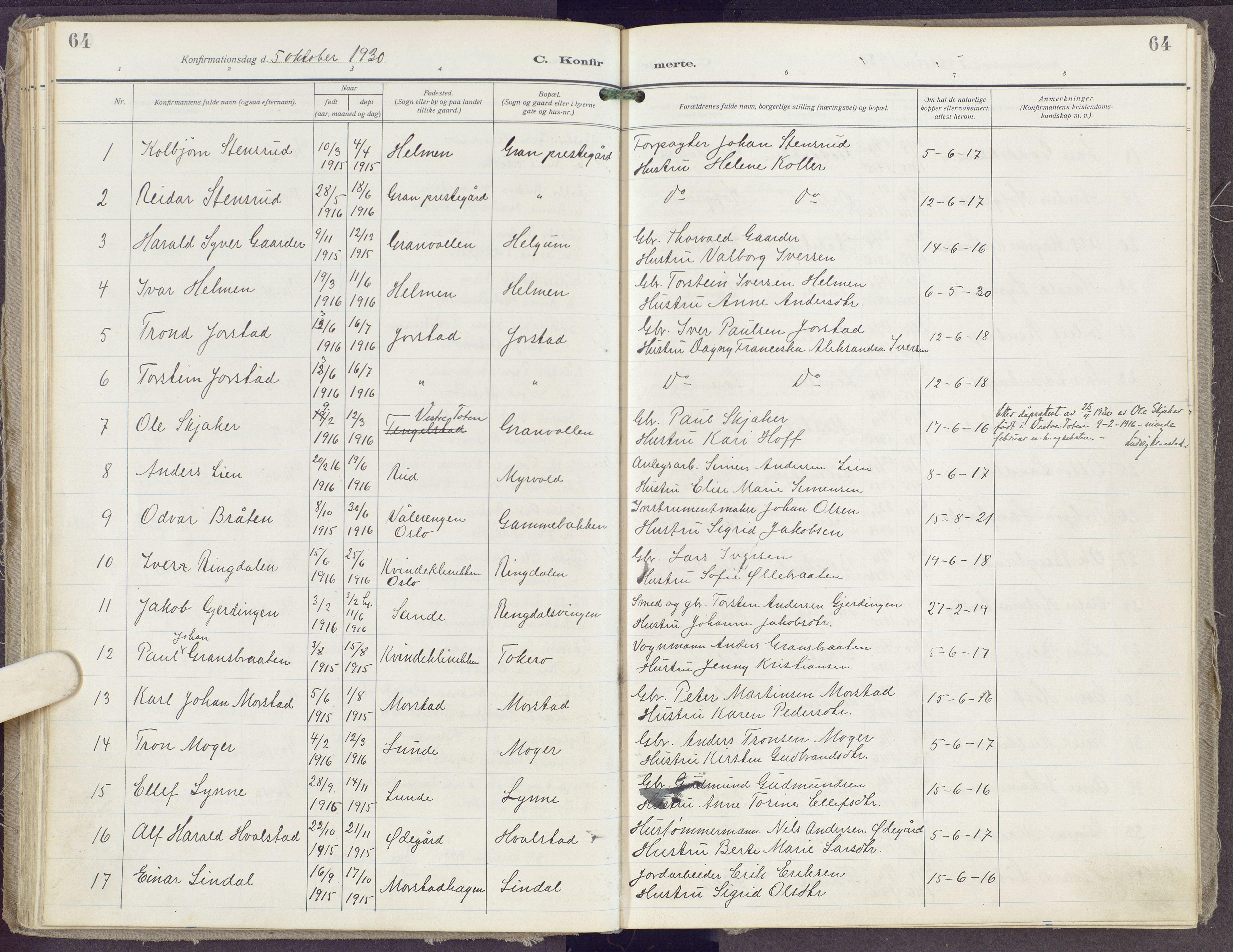 SAH, Gran prestekontor, Ministerialbok nr. 23, 1919-1938, s. 64