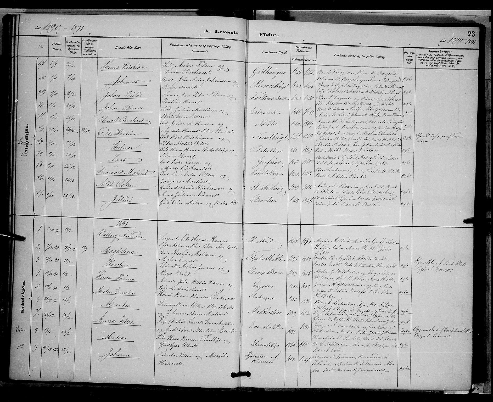 SAH, Vestre Toten prestekontor, H/Ha/Hab/L0009: Klokkerbok nr. 9, 1888-1900, s. 23
