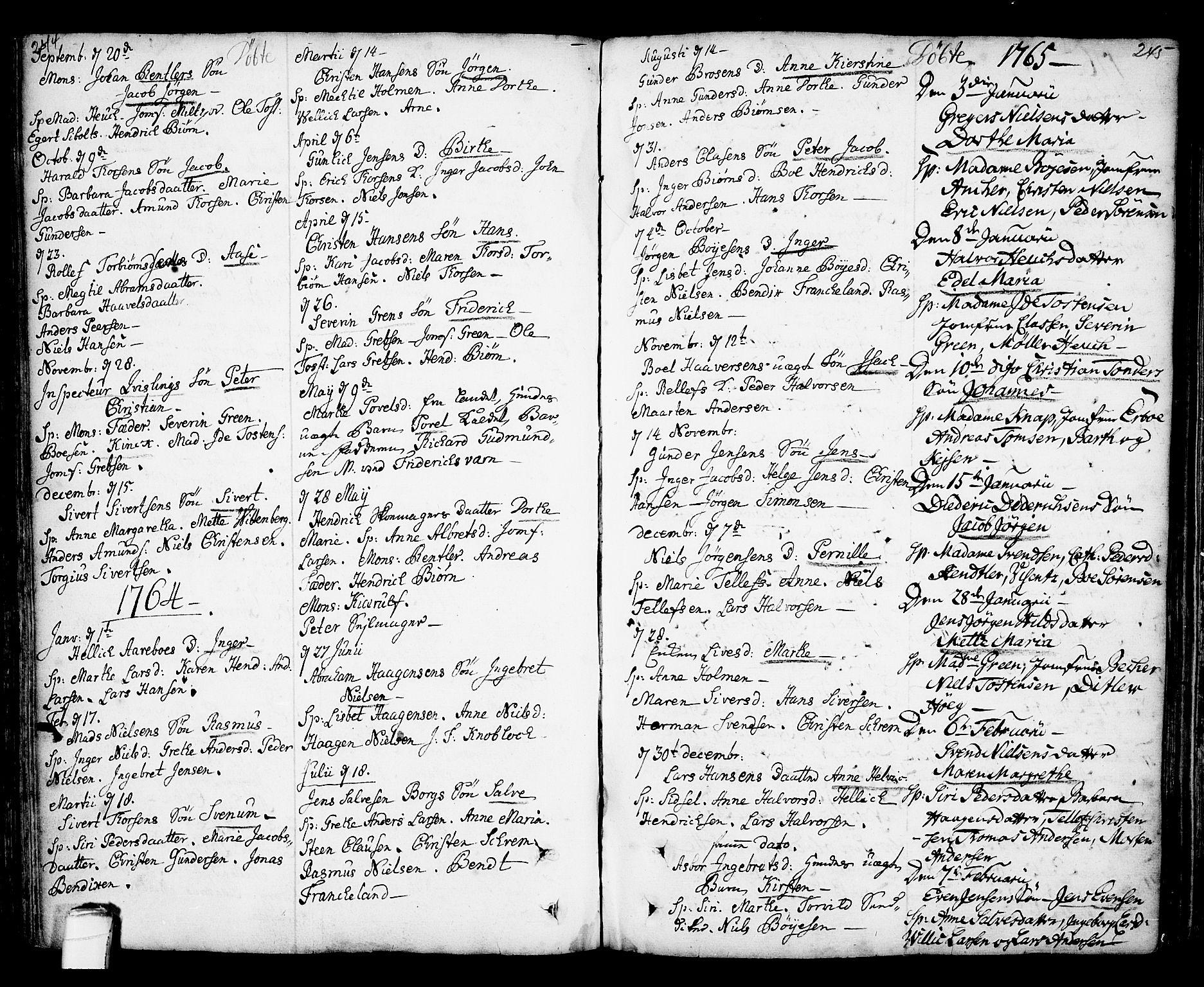 SAKO, Kragerø kirkebøker, F/Fa/L0001: Ministerialbok nr. 1, 1702-1766, s. 244-245