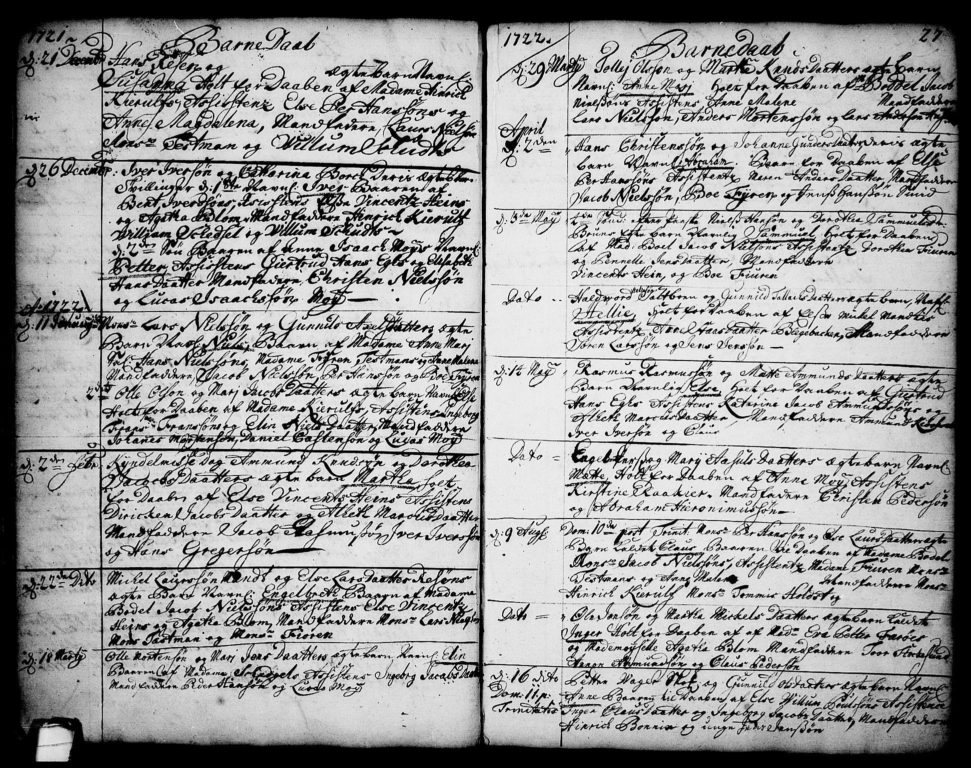SAKO, Brevik kirkebøker, F/Fa/L0002: Ministerialbok nr. 2, 1720-1764, s. 27