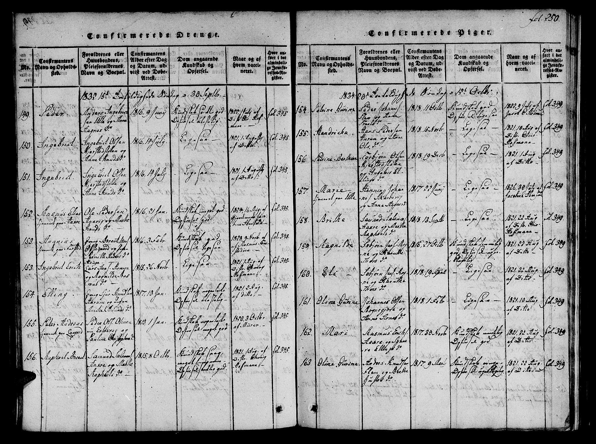 SAT, Ministerialprotokoller, klokkerbøker og fødselsregistre - Møre og Romsdal, 536/L0495: Ministerialbok nr. 536A04, 1818-1847, s. 250