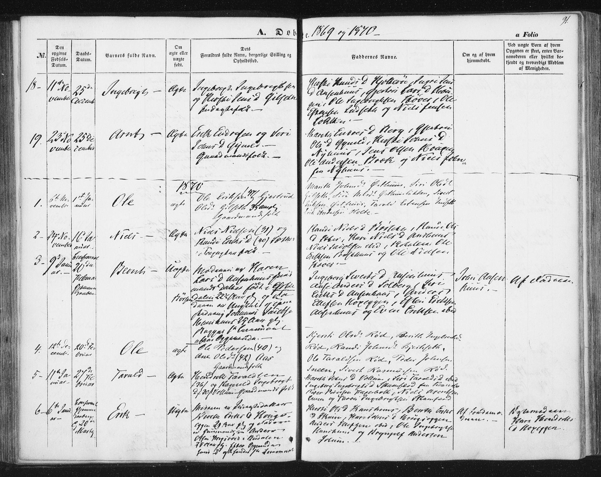 SAT, Ministerialprotokoller, klokkerbøker og fødselsregistre - Sør-Trøndelag, 689/L1038: Ministerialbok nr. 689A03, 1848-1872, s. 91