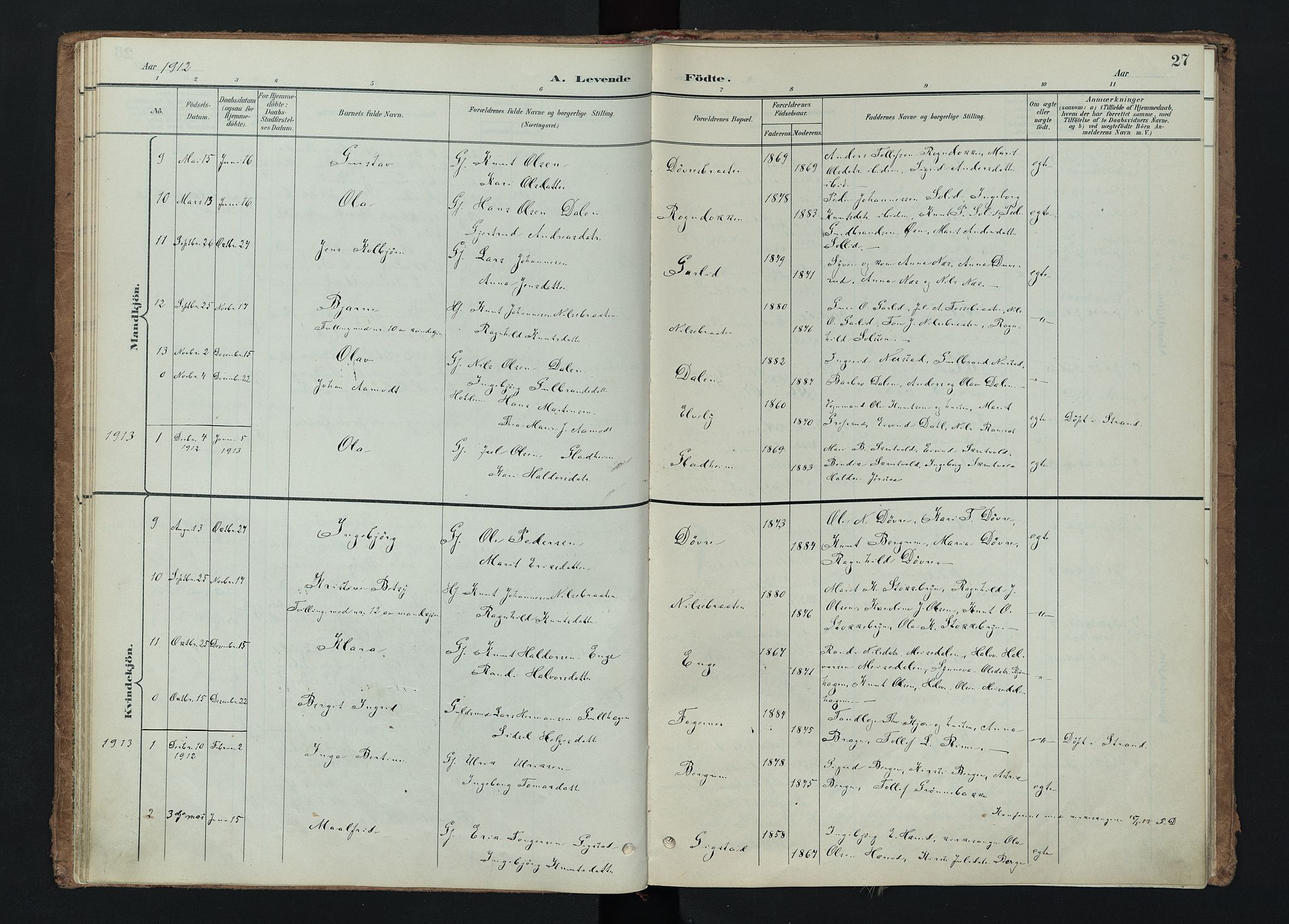 SAH, Nord-Aurdal prestekontor, Ministerialbok nr. 15, 1896-1914, s. 27