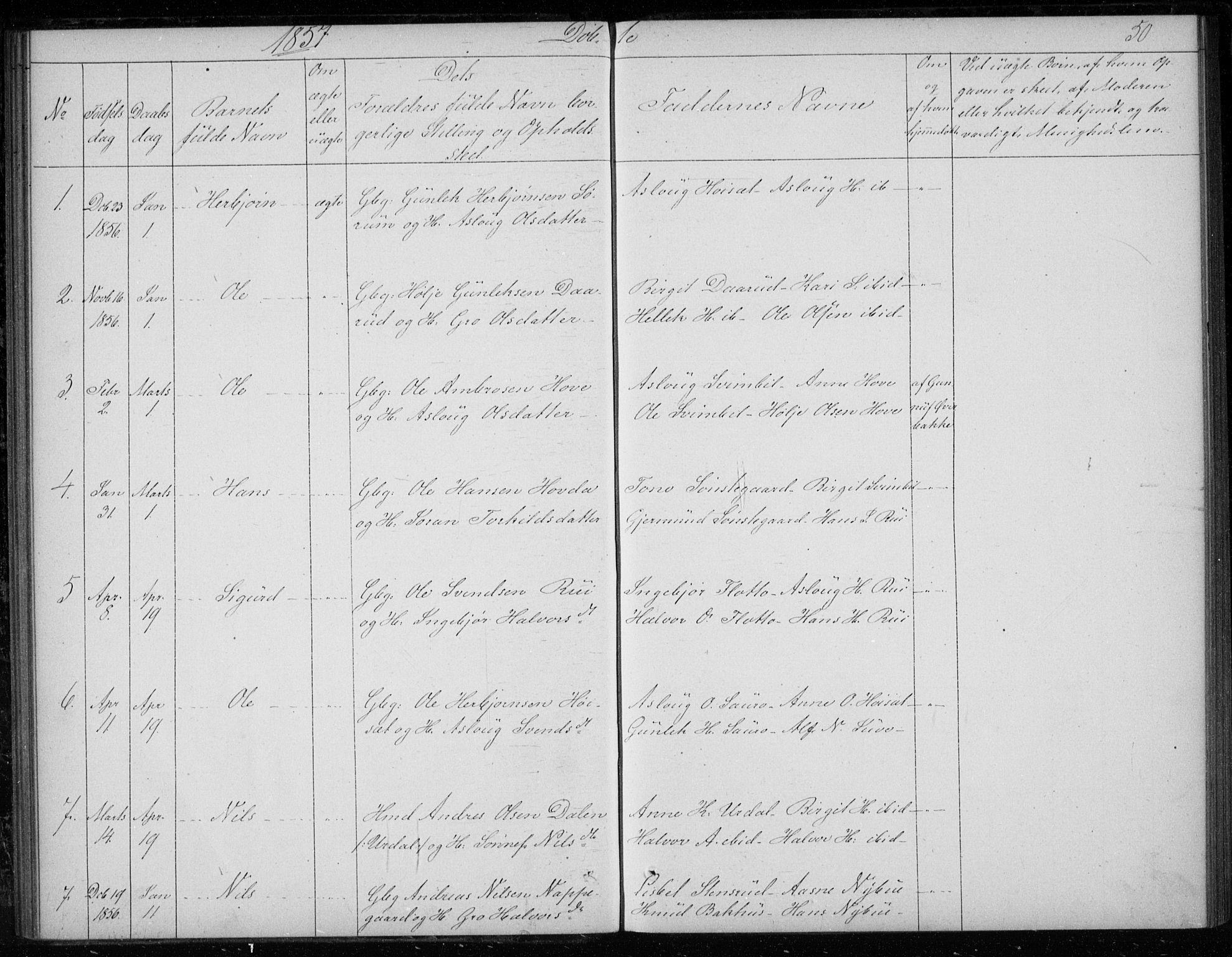 SAKO, Gransherad kirkebøker, F/Fb/L0003: Ministerialbok nr. II 3, 1844-1859, s. 50