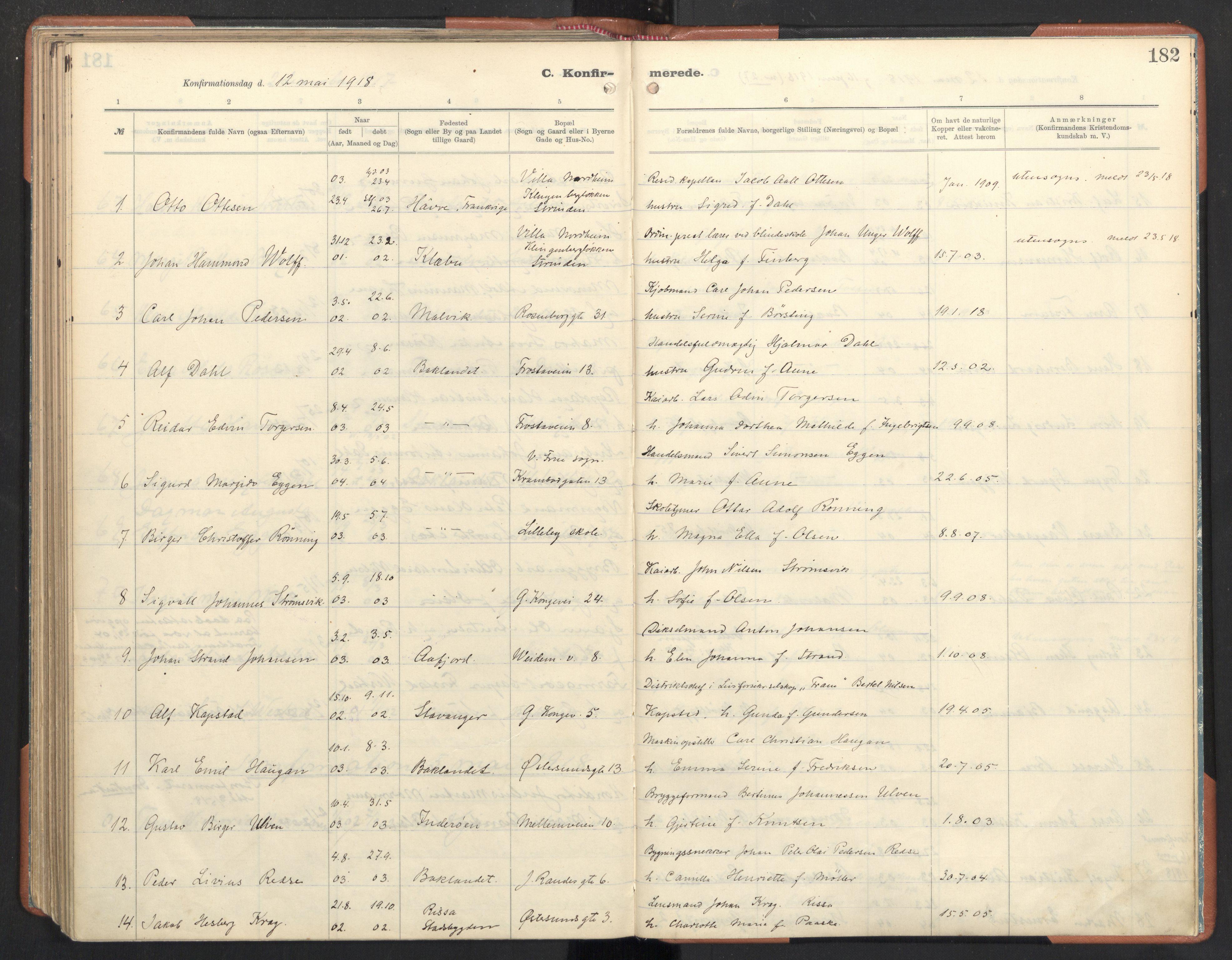 SAT, Ministerialprotokoller, klokkerbøker og fødselsregistre - Sør-Trøndelag, 605/L0246: Ministerialbok nr. 605A08, 1916-1920, s. 182