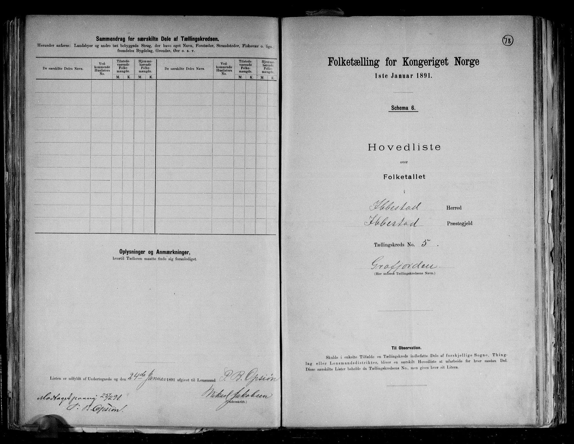 RA, Folketelling 1891 for 1917 Ibestad herred, 1891, s. 14