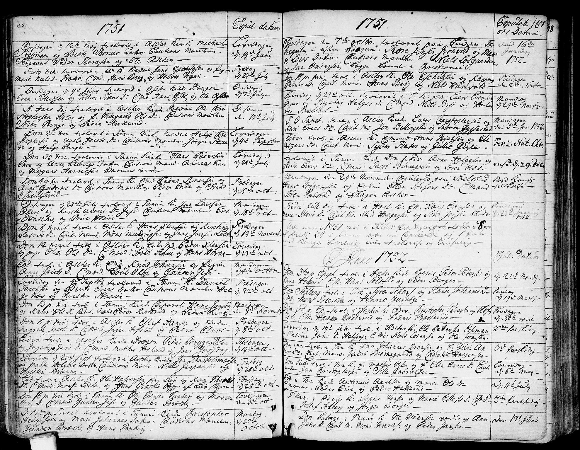 SAO, Asker prestekontor Kirkebøker, F/Fa/L0002: Ministerialbok nr. I 2, 1733-1766, s. 167