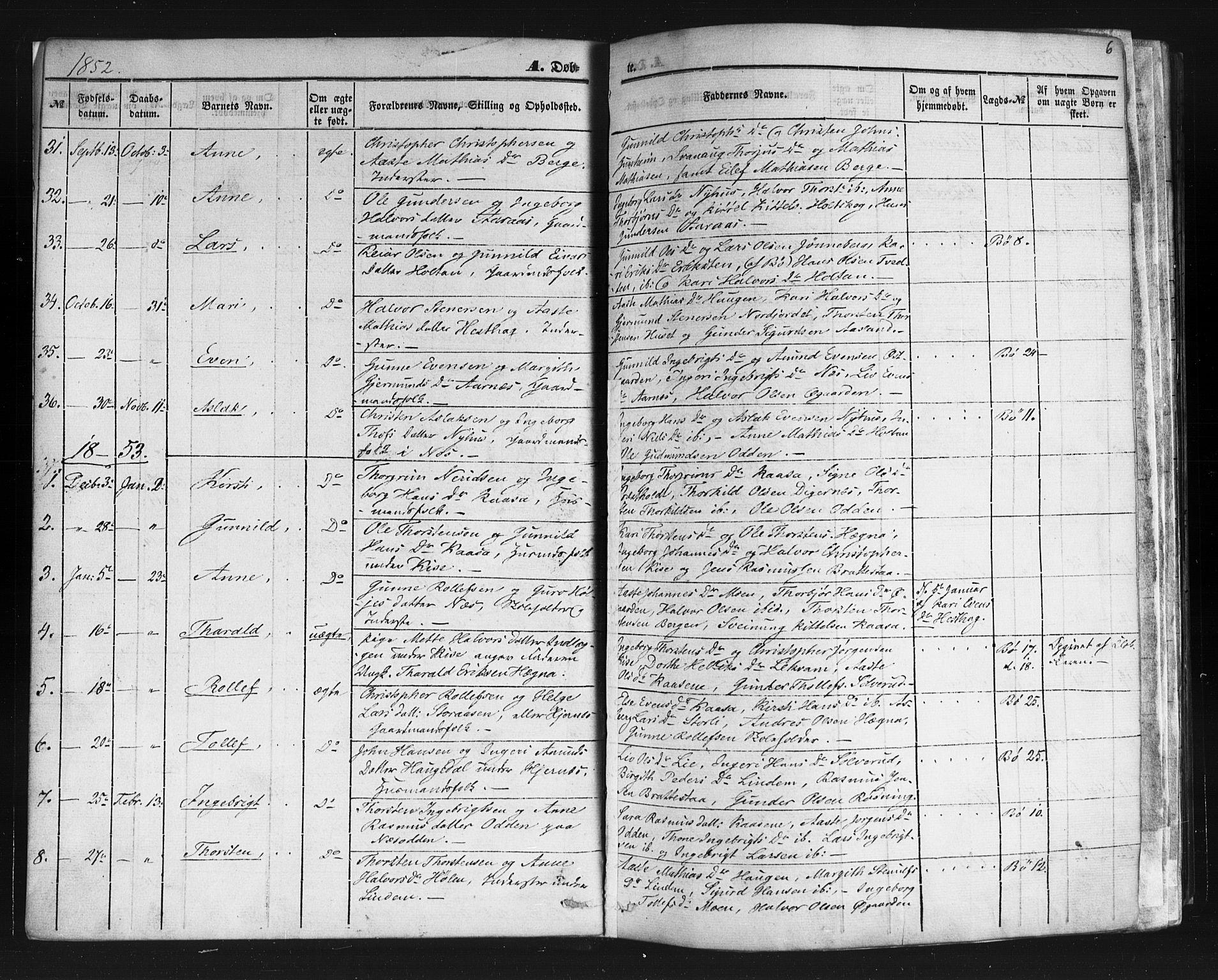 SAKO, Sauherad kirkebøker, F/Fb/L0001: Ministerialbok nr. II 1, 1851-1877, s. 6