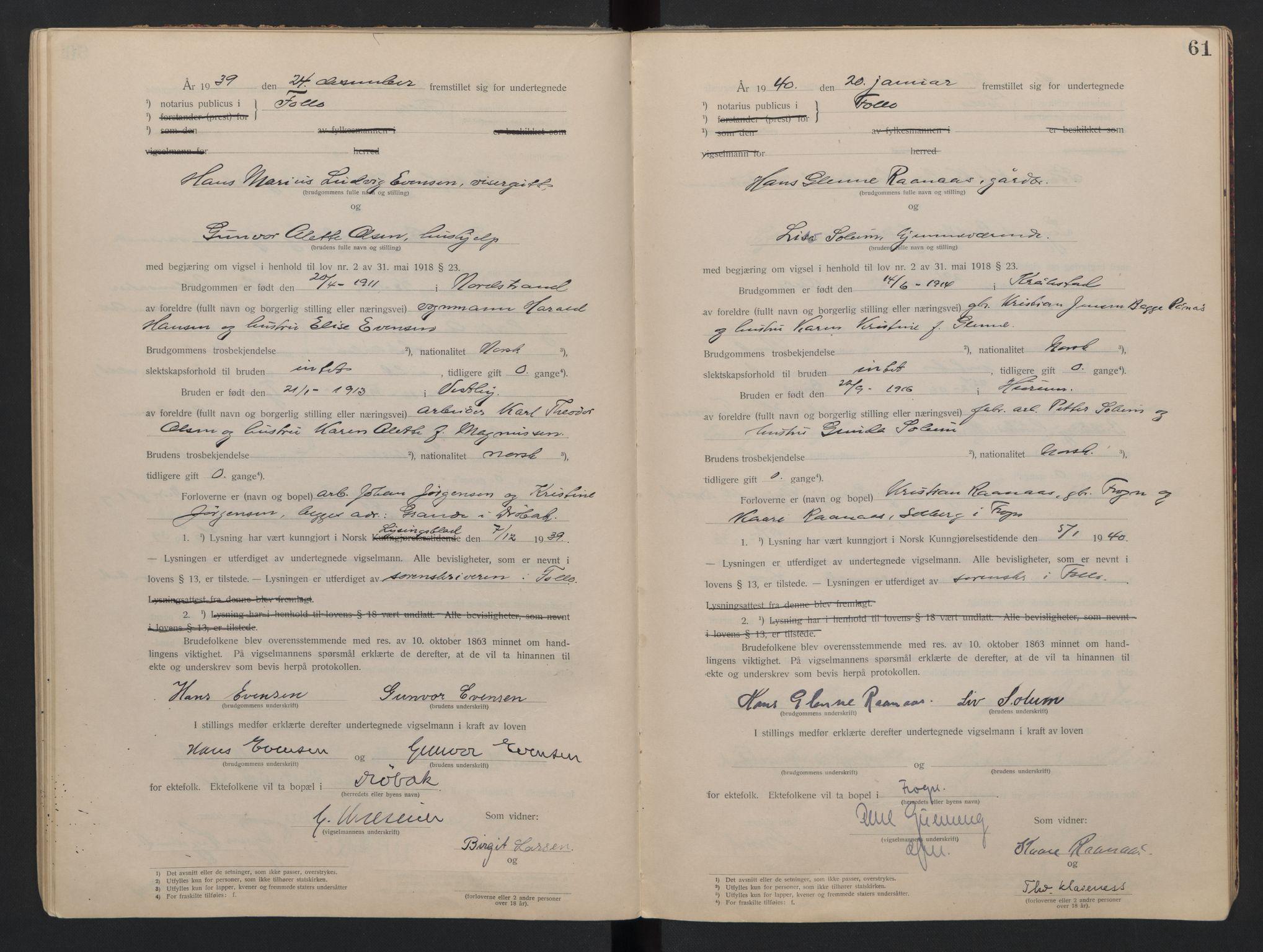 SAO, Follo sorenskriveri, L/La/Lab/L0001: Vigselsbok, 1920-1942, s. 61