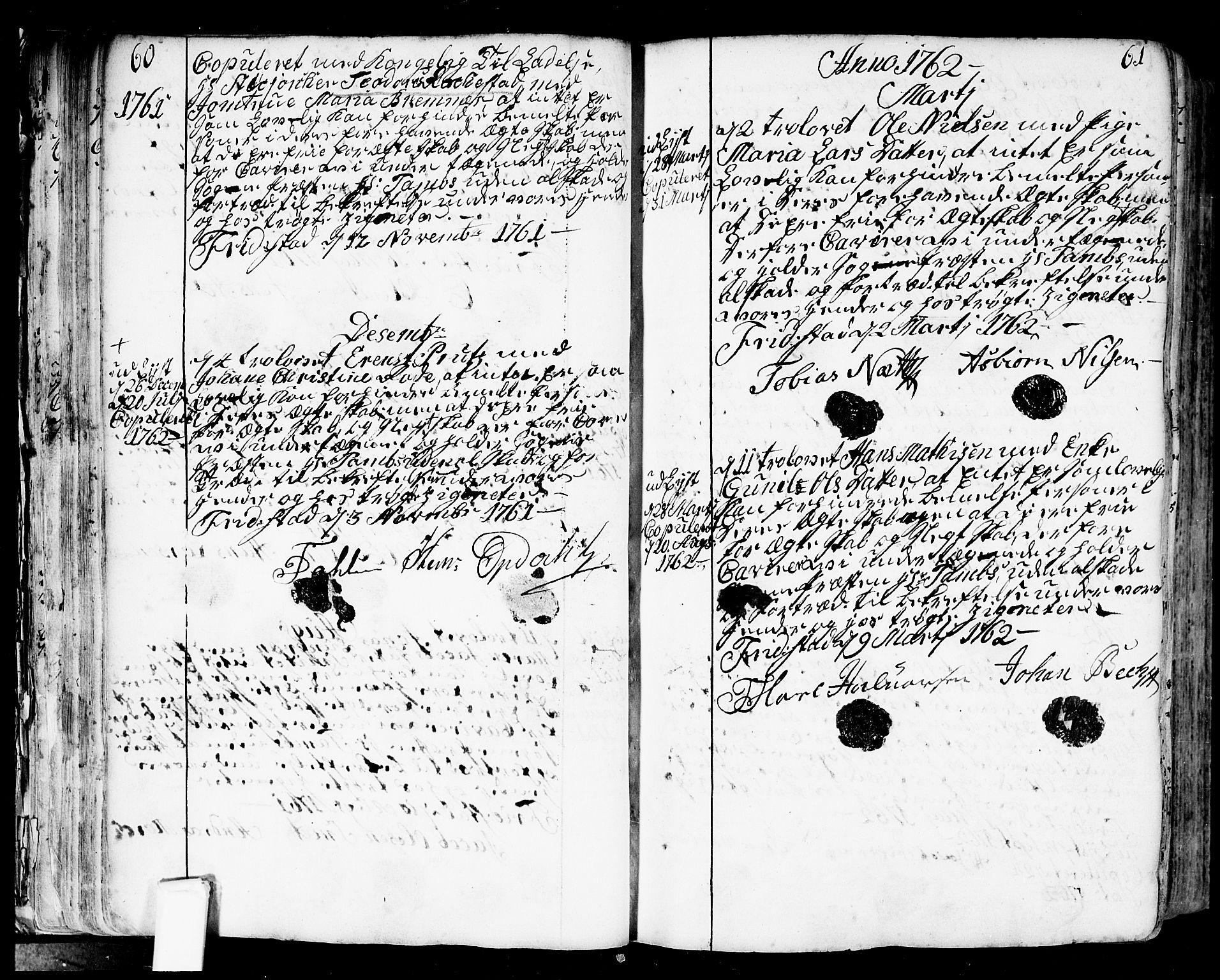 SAO, Fredrikstad prestekontor Kirkebøker, F/Fa/L0002: Ministerialbok nr. 2, 1750-1804, s. 60-61