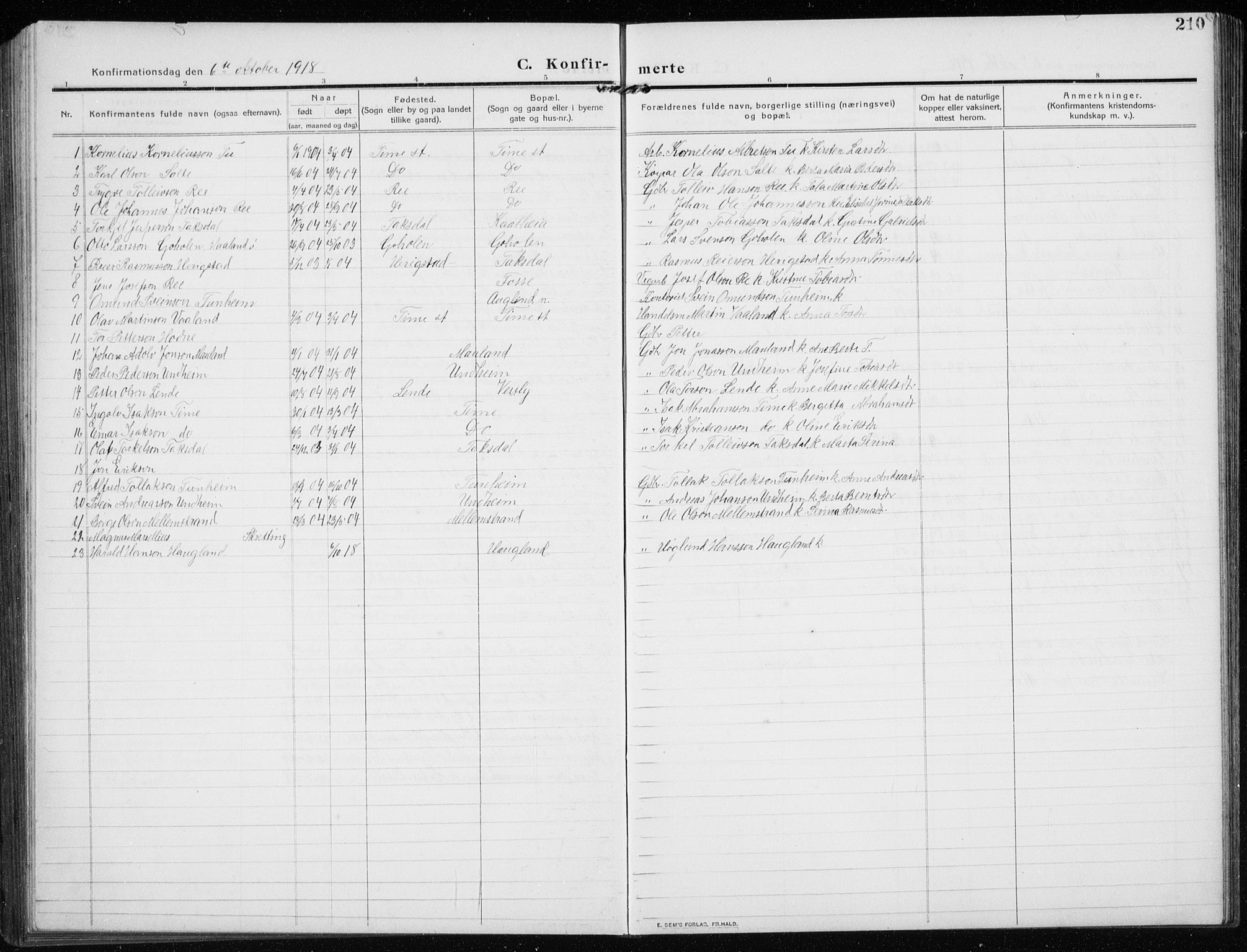 SAST, Time sokneprestkontor, 30BB/L0001: Klokkerbok nr. B 1, 1910-1932, s. 210