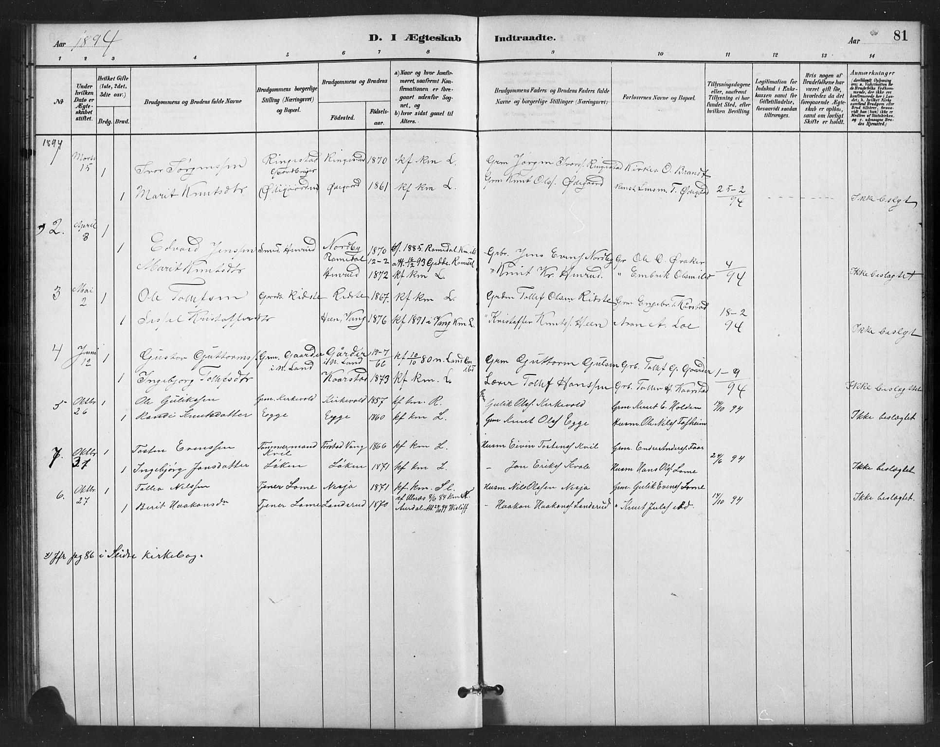 SAH, Vestre Slidre prestekontor, Klokkerbok nr. 6, 1881-1915, s. 81