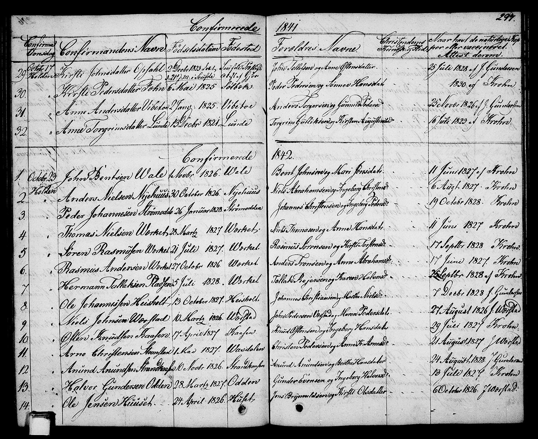 SAKO, Holla kirkebøker, G/Ga/L0002: Klokkerbok nr. I 2, 1830-1848, s. 297