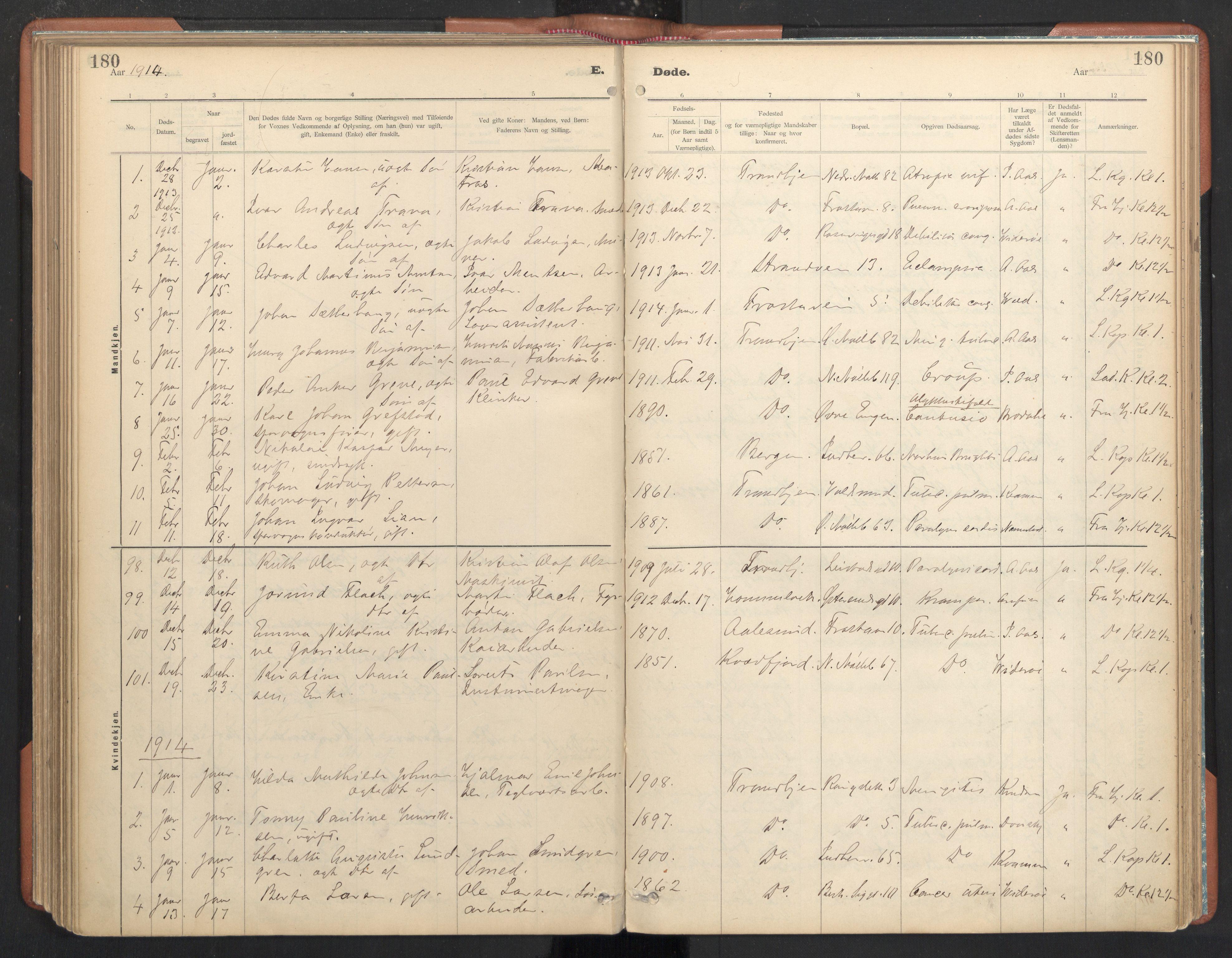 SAT, Ministerialprotokoller, klokkerbøker og fødselsregistre - Sør-Trøndelag, 605/L0244: Ministerialbok nr. 605A06, 1908-1954, s. 180