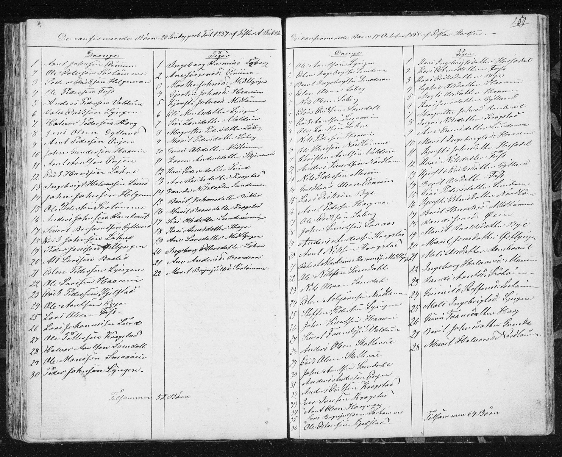 SAT, Ministerialprotokoller, klokkerbøker og fødselsregistre - Sør-Trøndelag, 692/L1110: Klokkerbok nr. 692C05, 1849-1889, s. 259