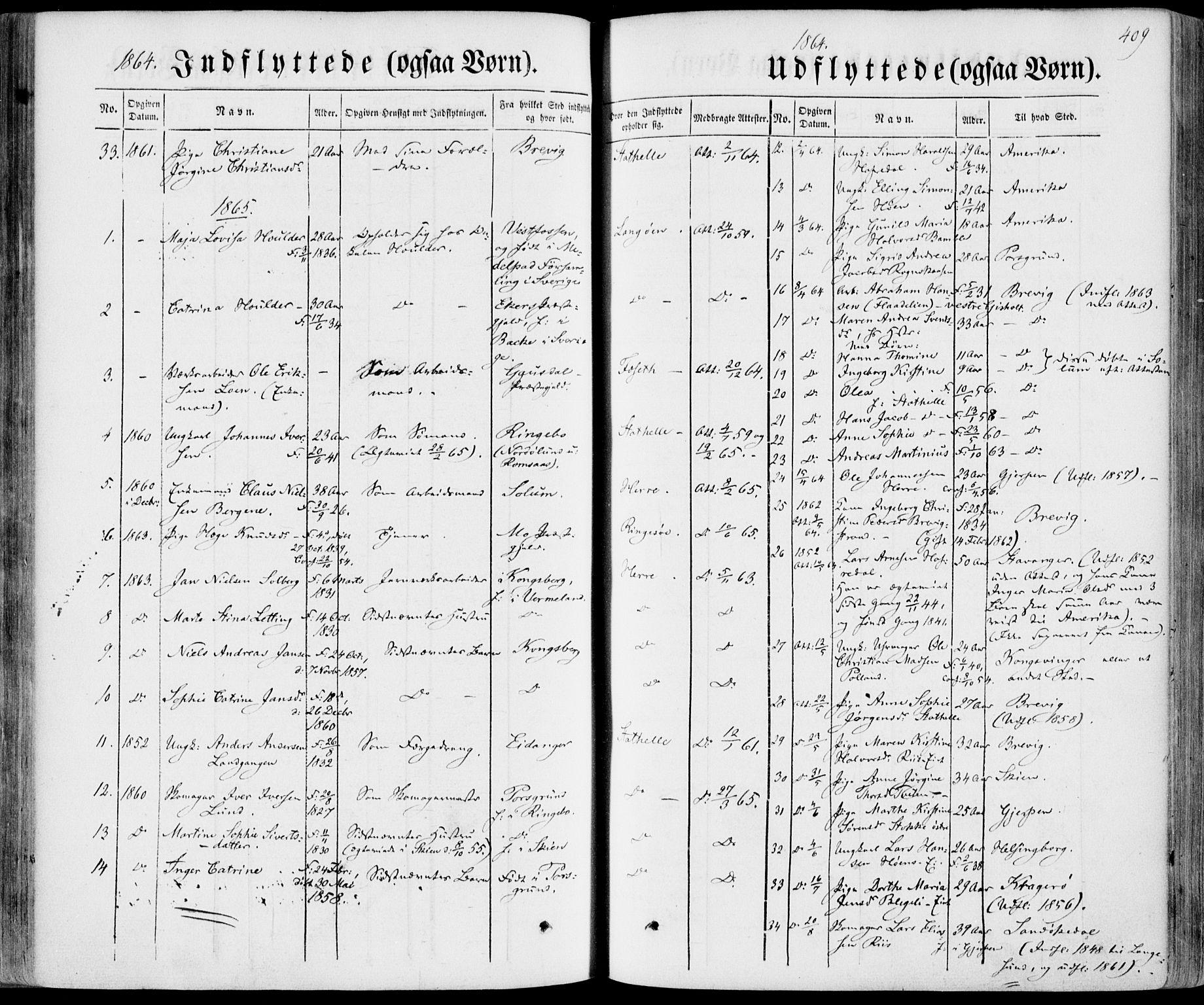 SAKO, Bamble kirkebøker, F/Fa/L0005: Ministerialbok nr. I 5, 1854-1869, s. 409